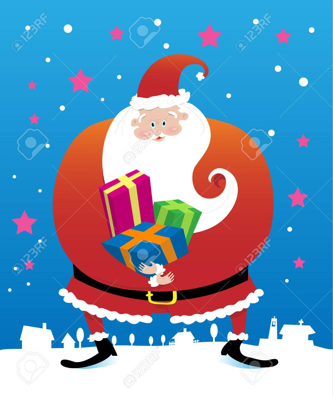 Vector illustration of smiling Santa Claus holding presents for the children. Stock Vector - 4064754