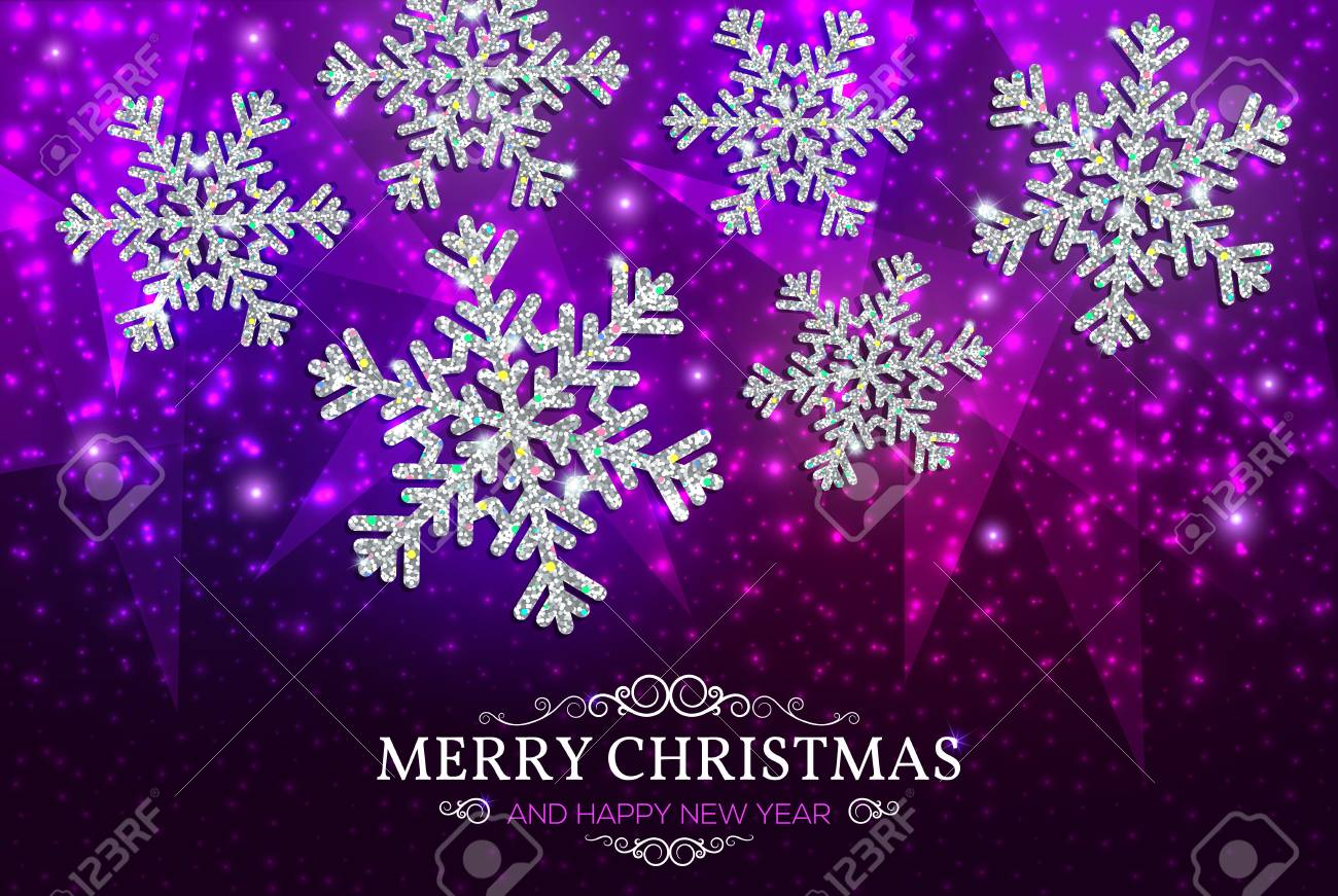 christmas banner with glowing silver snowflakes on a dark purple background happy new year poster