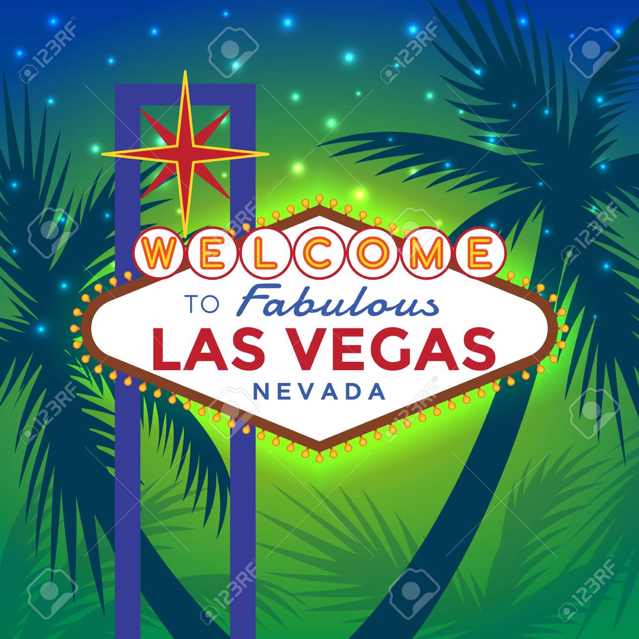 Vector Las Vegas Sign Against The Backdrop Of Palm Trees And ...