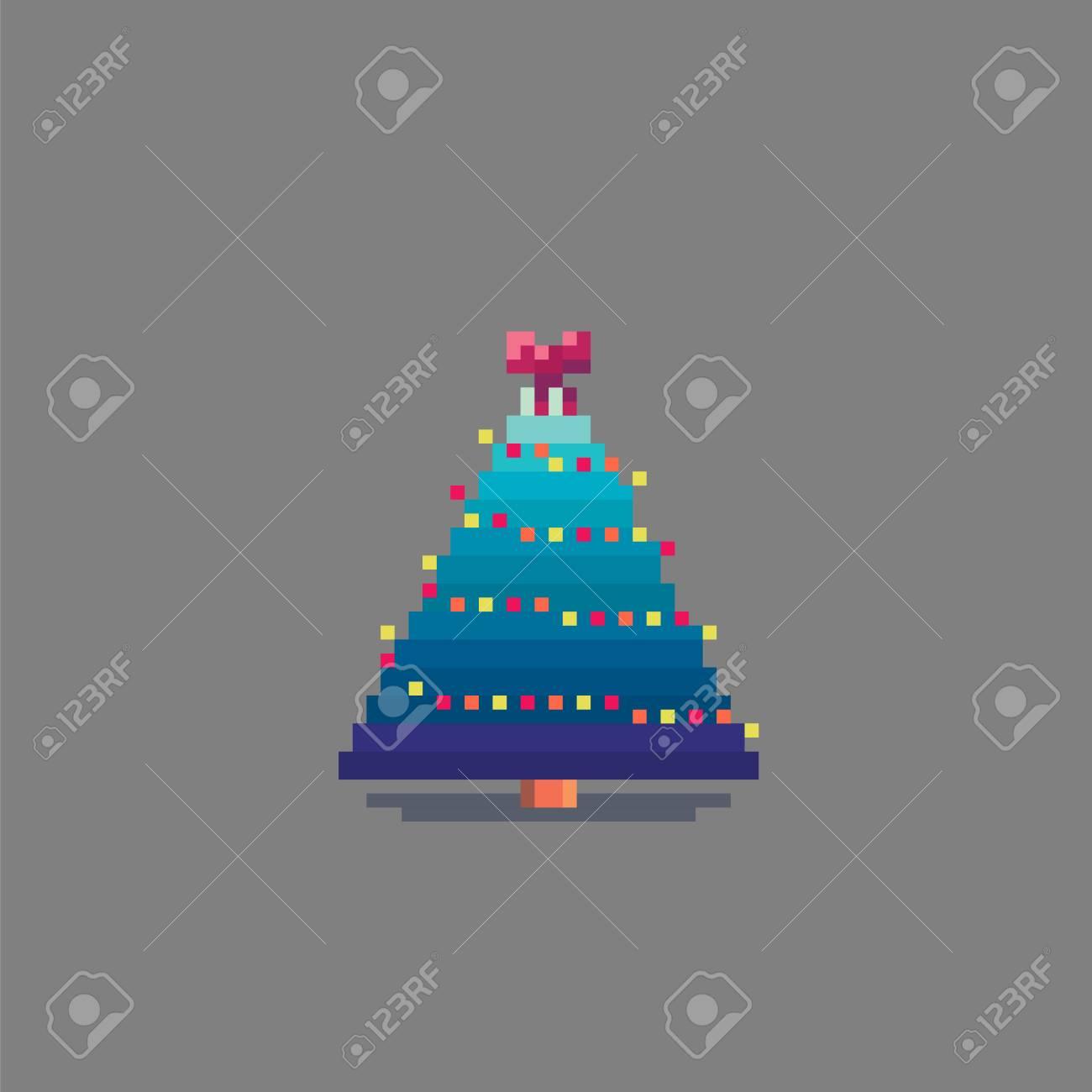 Pixel Art Décoré De Sapin De Noël Illustration Vectorielle