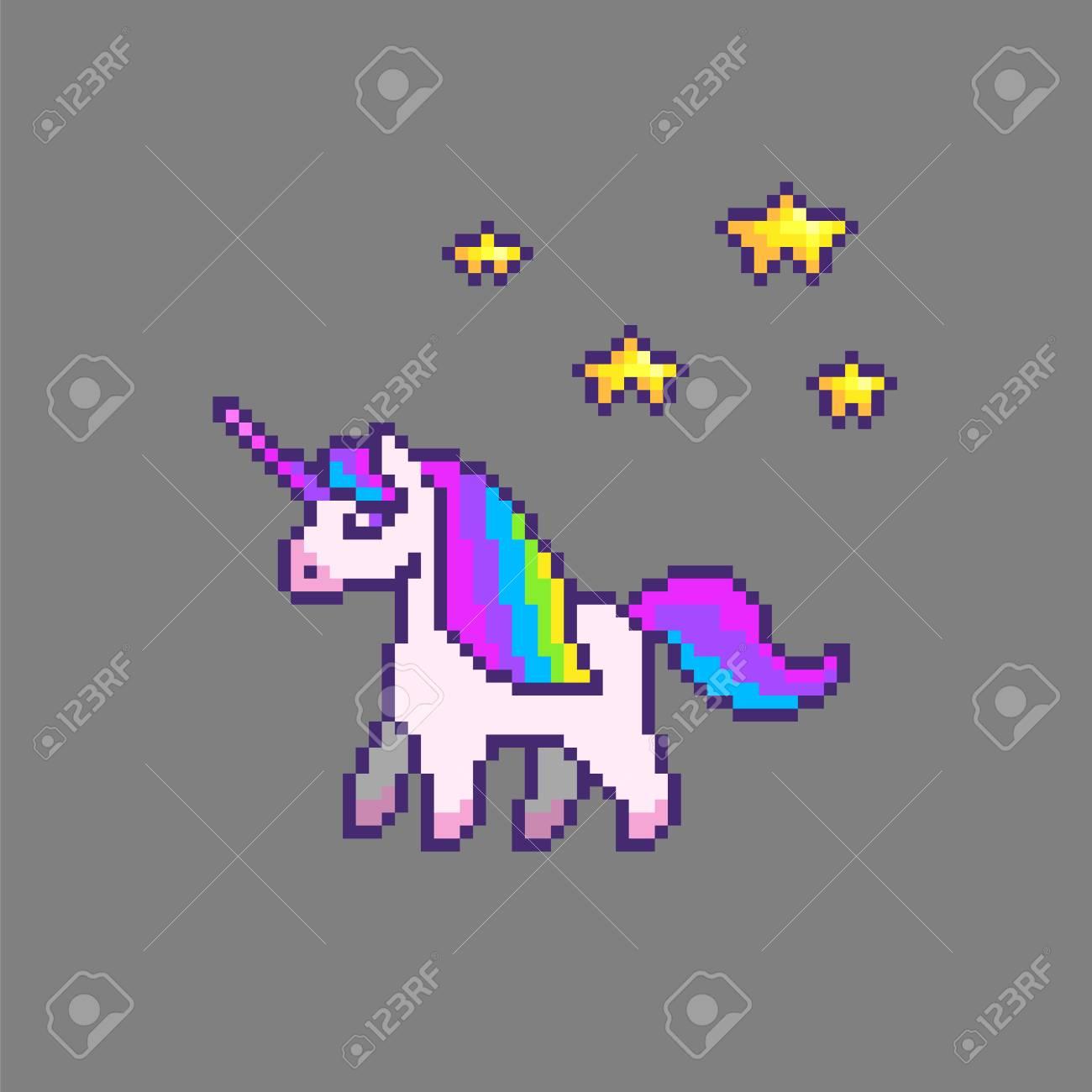 Pixel Art Mignon De La Licorne Avec Des étincelles