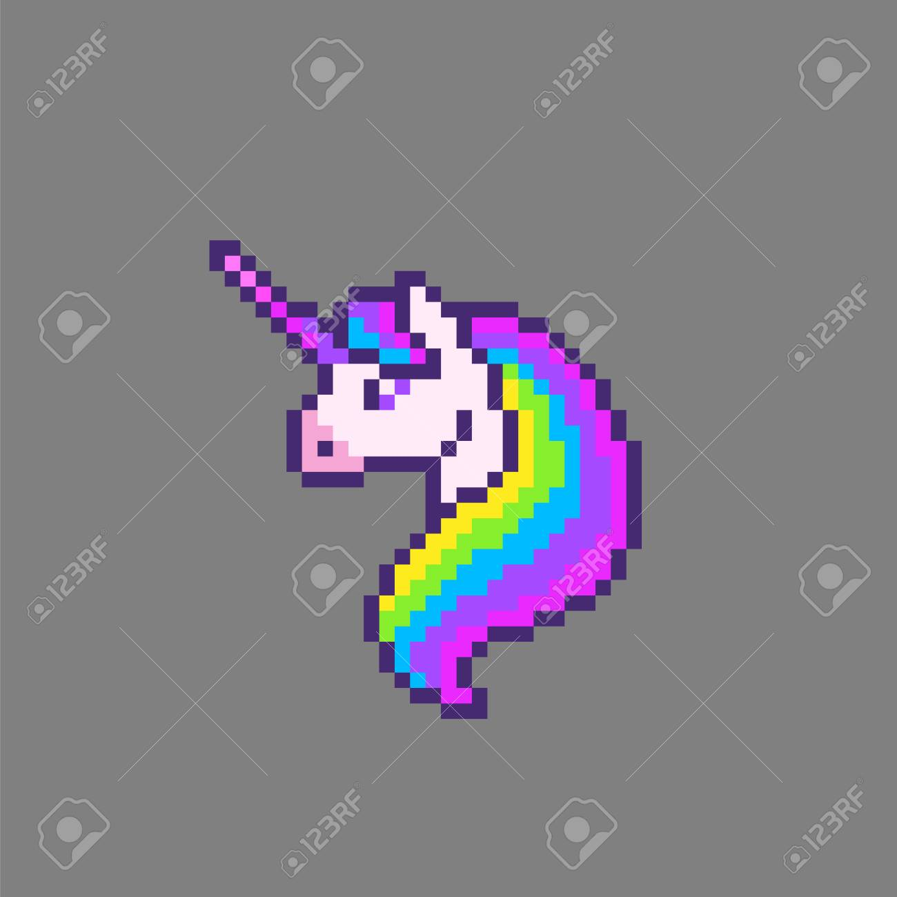 Pixel Art Cute Unicorn Head Vector Illustration