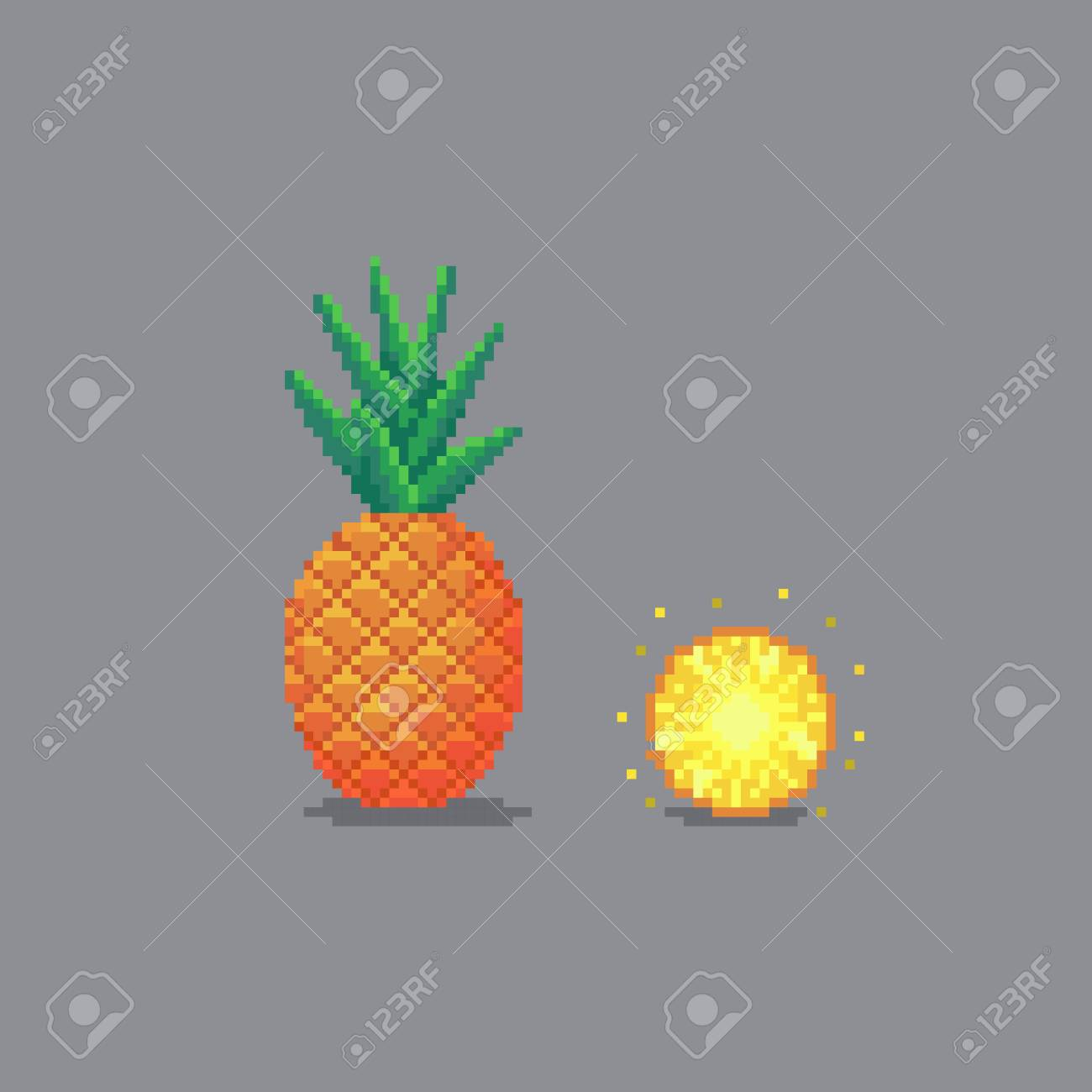 Pixel Art Style Pineapple Illustration Isolated On Gray Background