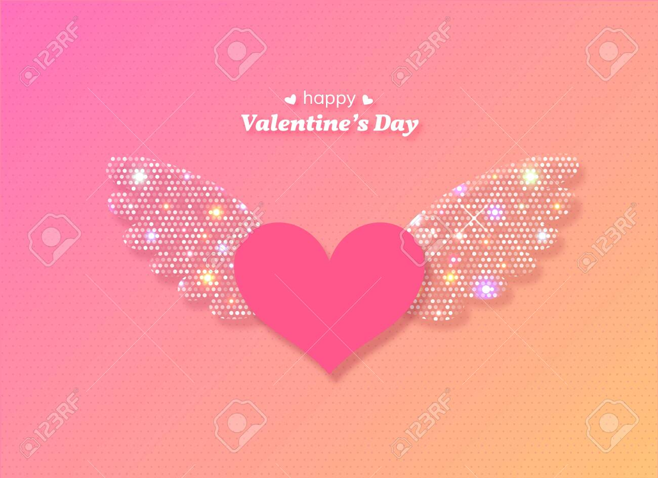 Valentines Day heart with glowing wings. Vector illustration. - 124388318