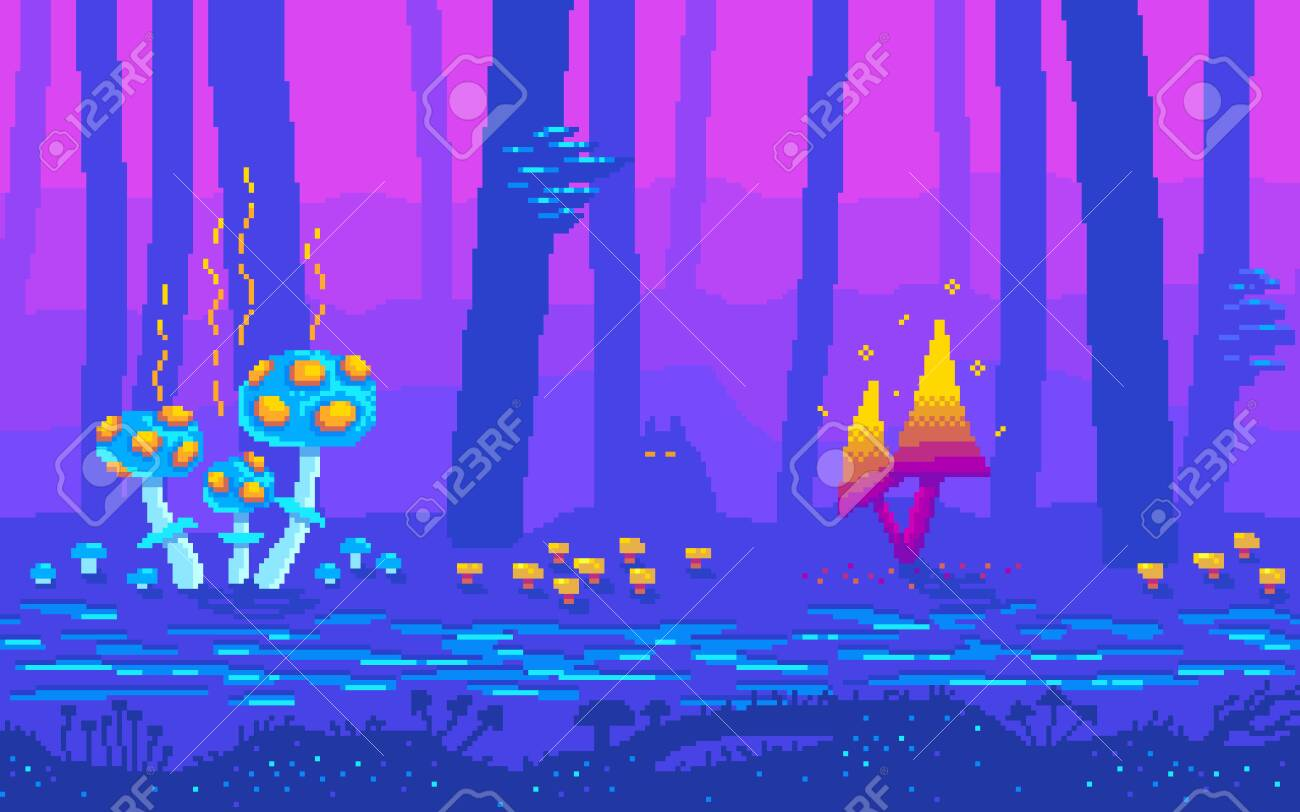 Pixel Art Fairy Tale Forest At Night Fantasy Game Location With