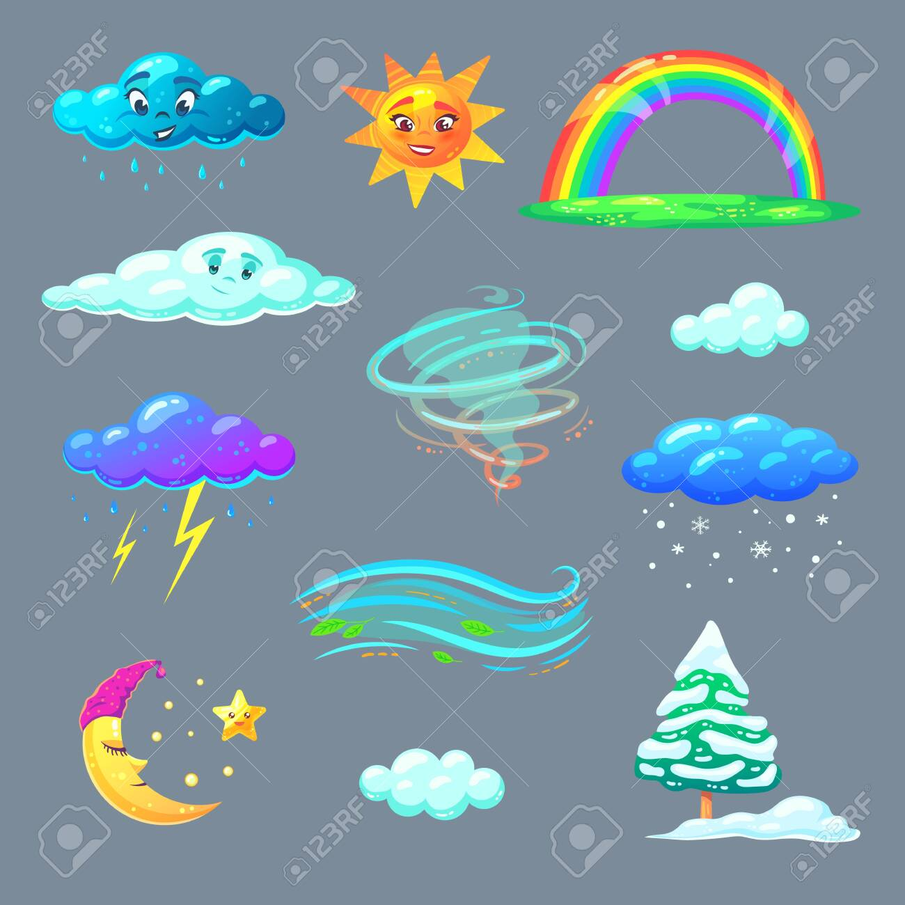 Cute weather icons in cartoon style. Nature elements for kids education. Vector illustration. - 124388395