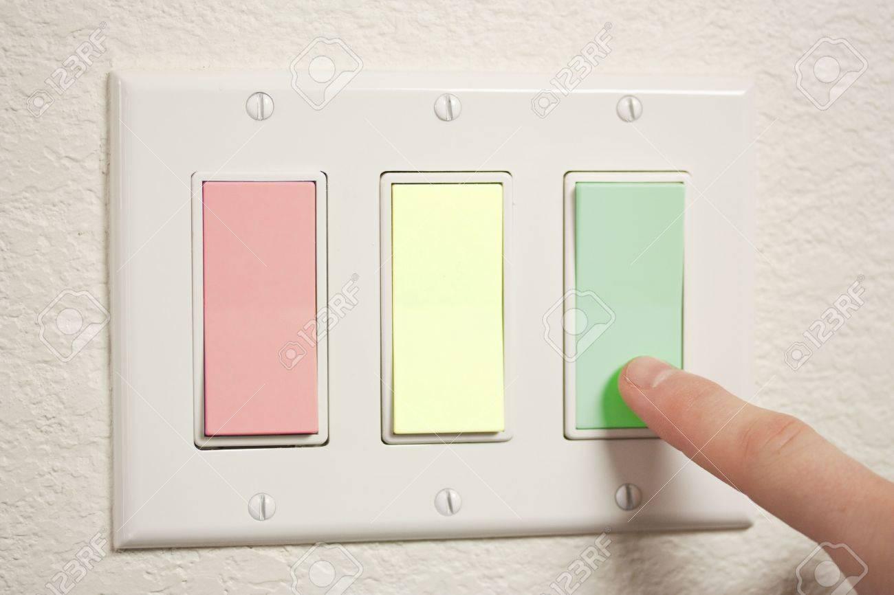 Ein 3-Wege-Schalter, Rot, Gelb Und Grün Lizenzfreie Fotos, Bilder ...
