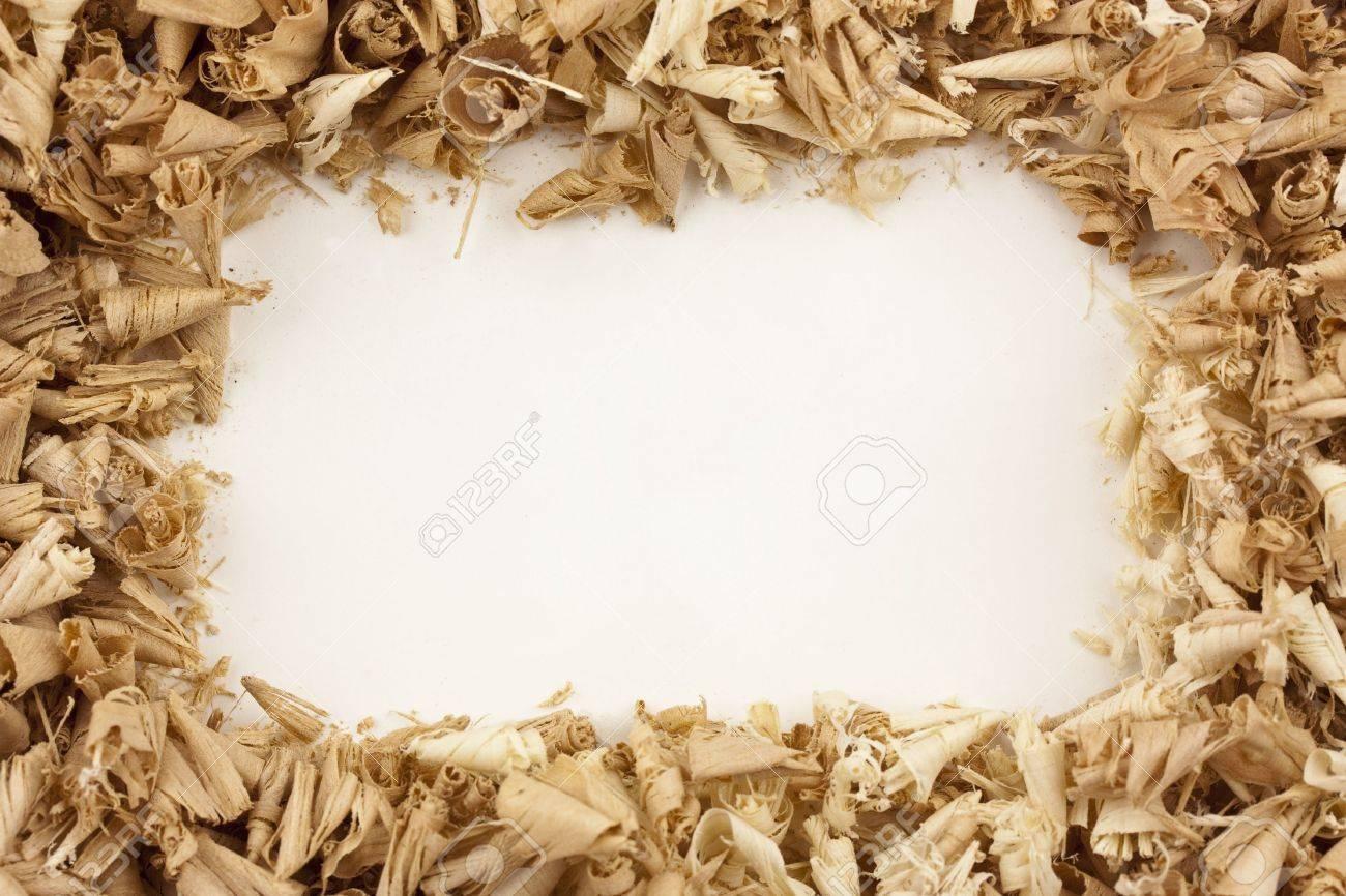A frame/border of wood shavings around a blank white center Stock Photo - 5650899