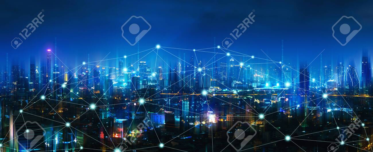 Wireless network and Connection technology concept with Bangkok city background at night in Thailand, panorama view - 129405939