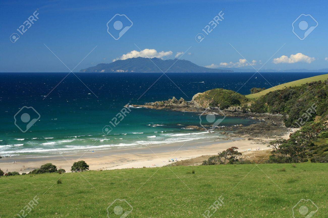 view of Great Barrier Island from Tawharanui Peninsula Stock Photo - 17629266