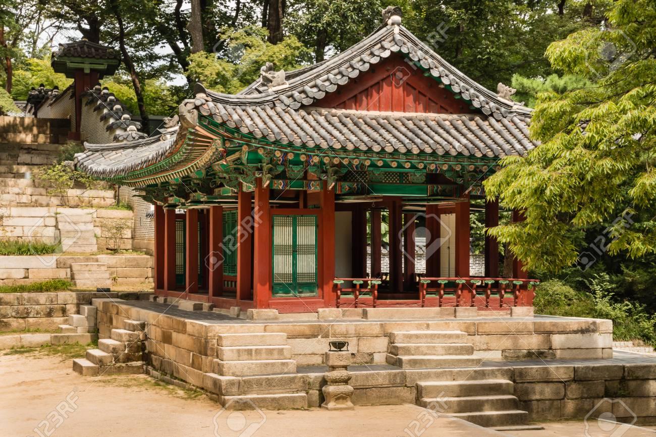 Traditional Wooden Pavilion In Secret Garden Of Changdeokgung ...