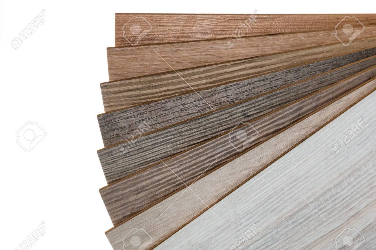 Selection Of Laminate Flooring Samples Isolated On White Background Stock Photo 71642191