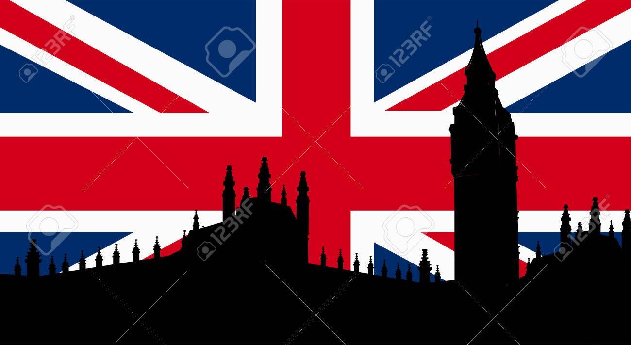 British Design With Big Ben London Flag Stock Vector