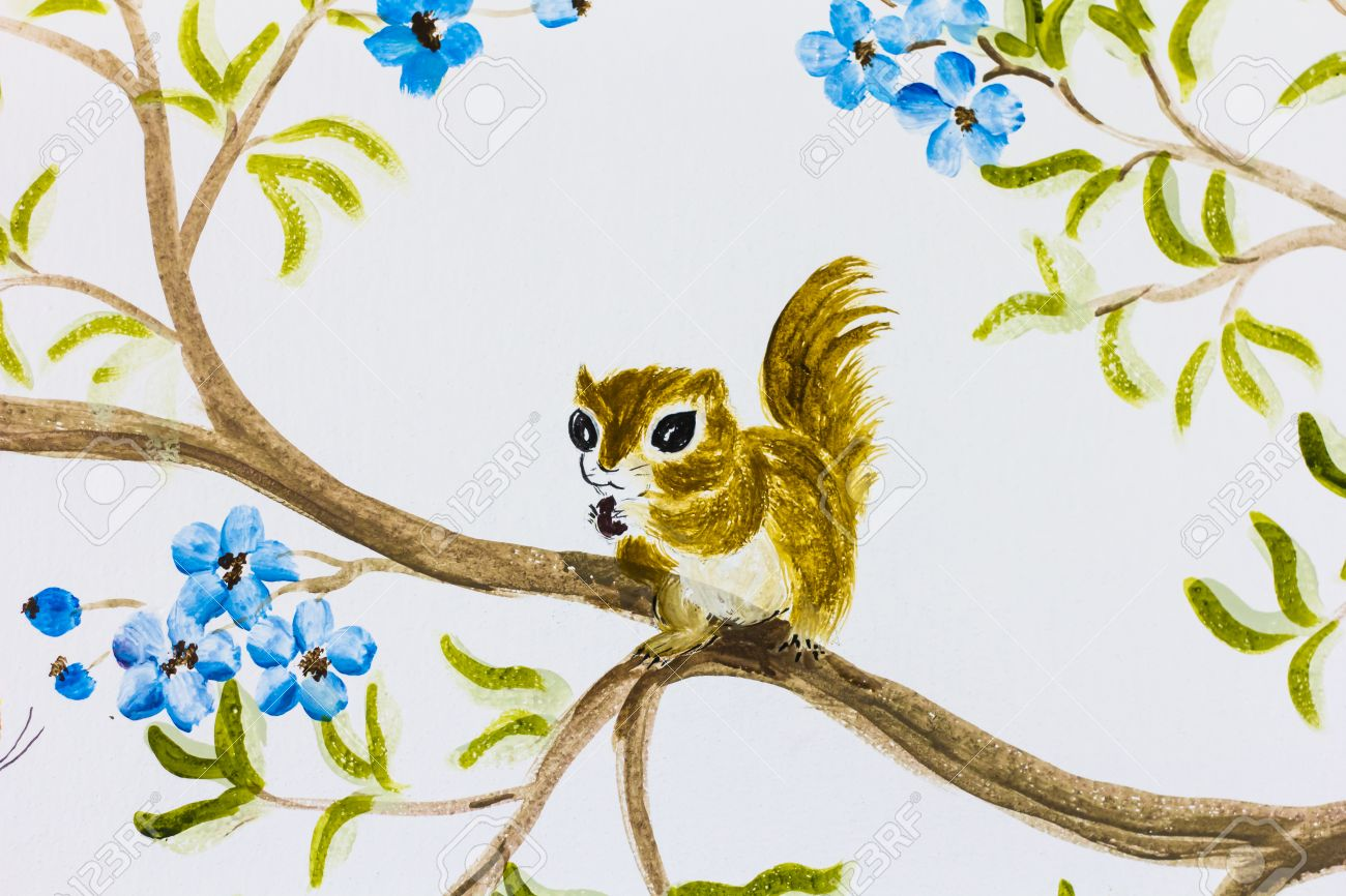 Hervorragend Standard Bild   Wandmalerei über Eichhörnchen Und Natur An Der Wand Für Die  Dekoration