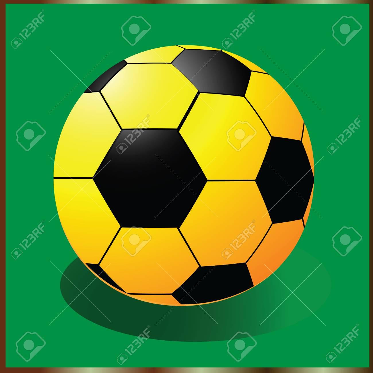 c3d88046534df Icono De Balón De Fútbol Con Negro Y Amarillo Ilustraciones ...