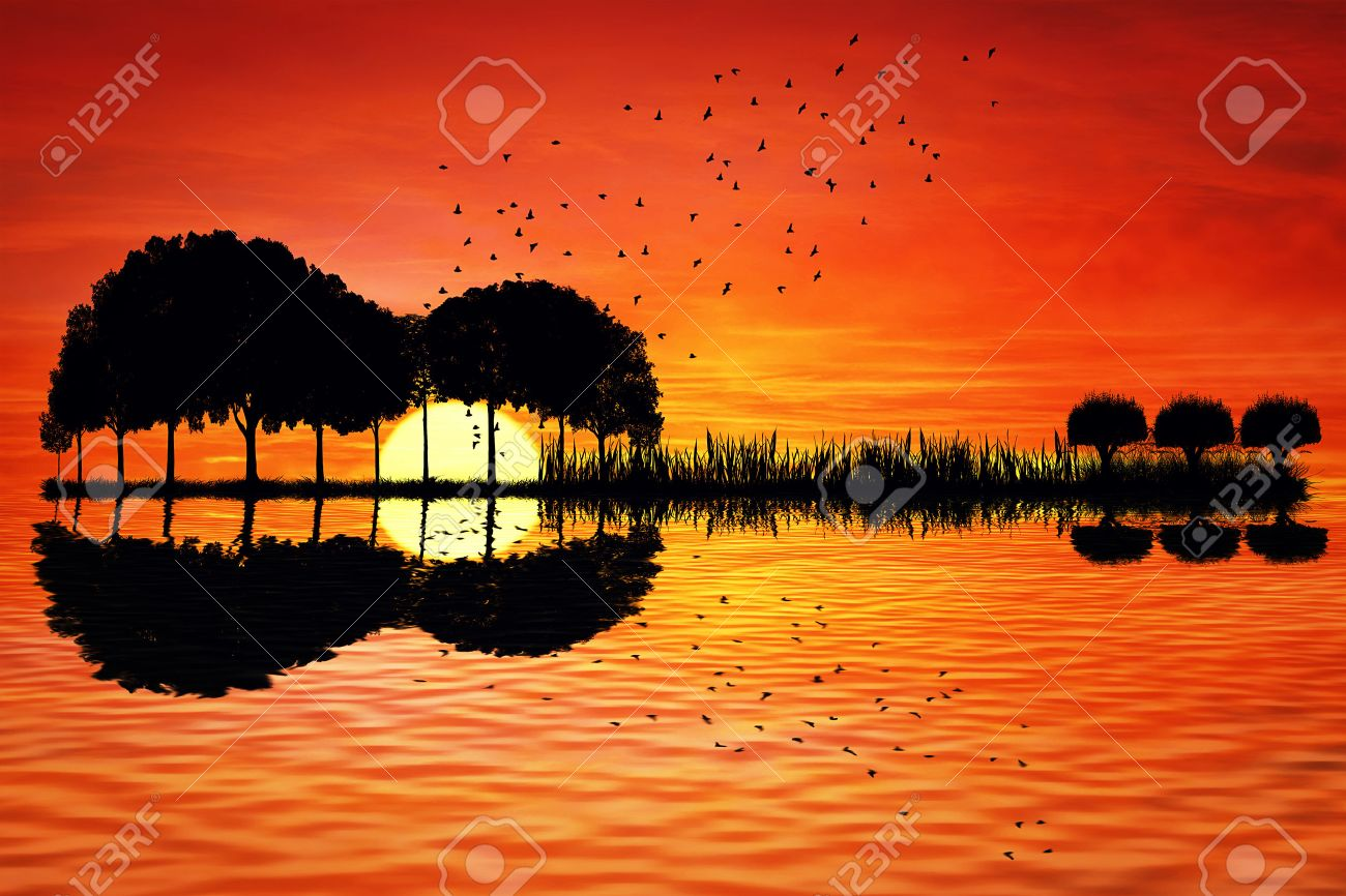 Trees arranged in a shape of a guitar on a sunset background. Music island with a guitar reflection in water - 50837234