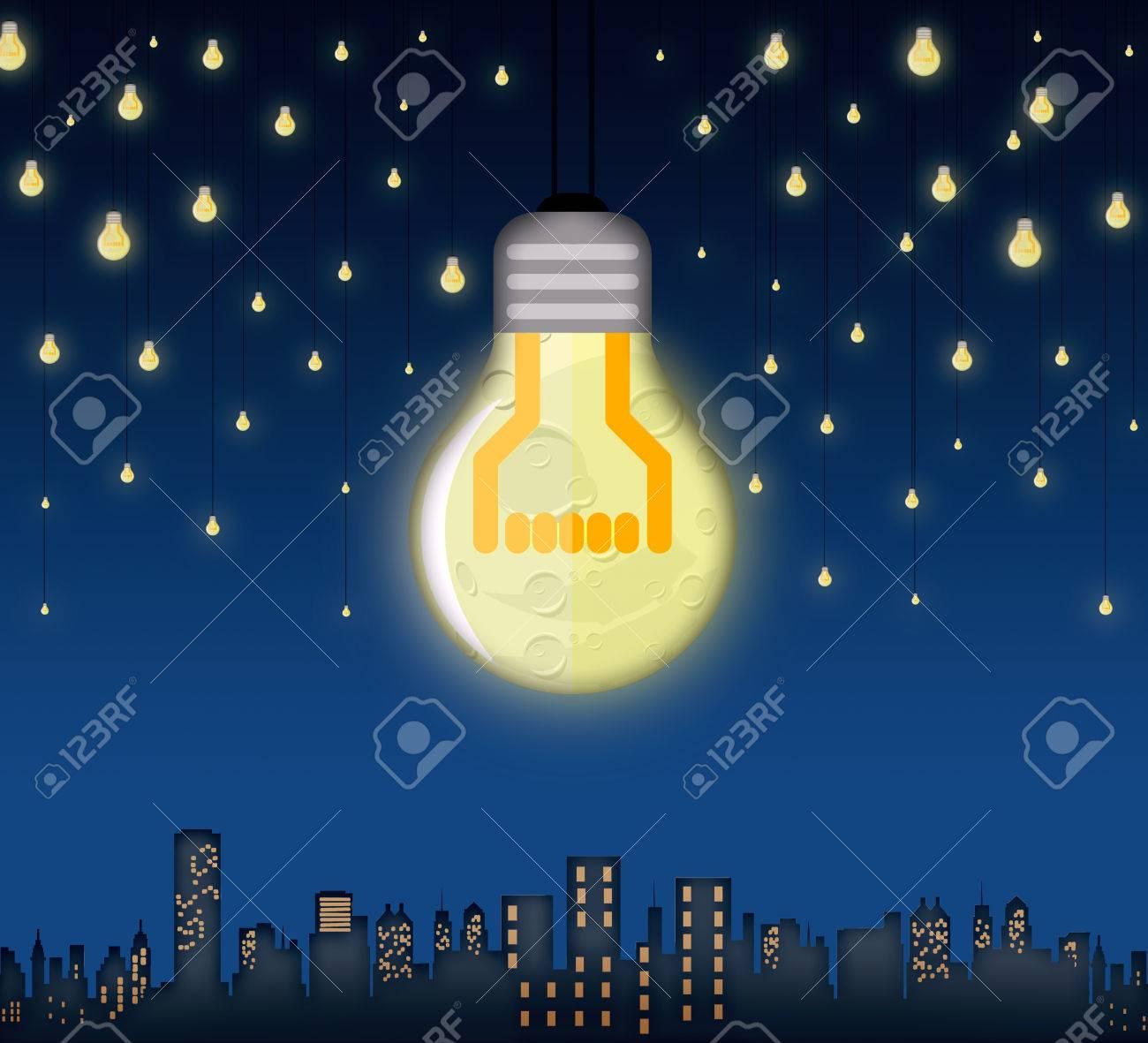 Foto Di Luna E Stelle.Illustrazione Della Luna E Stelle In Forma Di Lampadine Su Una Citta Sfondo Surreale Concetto Di Energia Alternativa