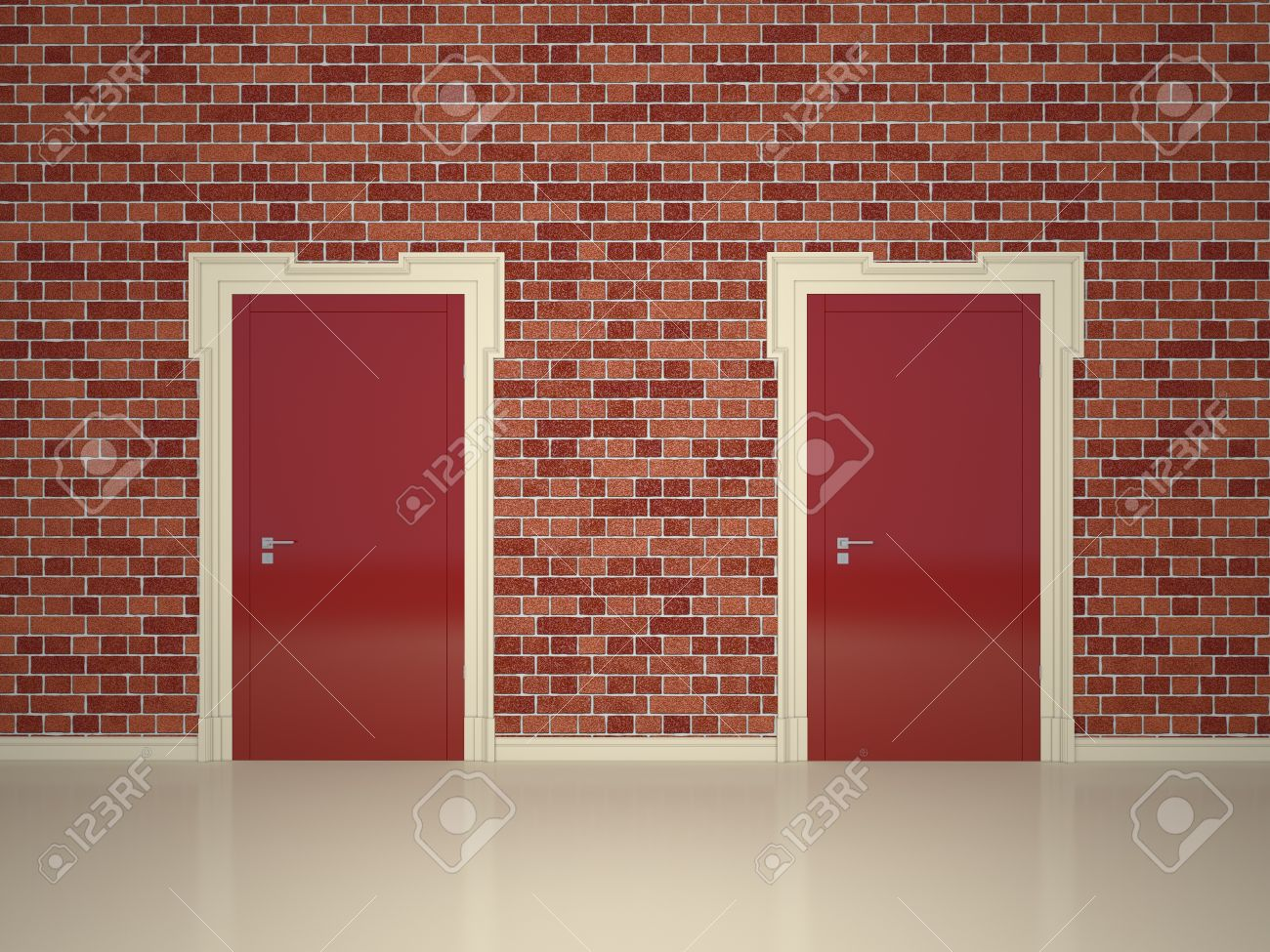 Stylish red two doors on the front of a brick wall Stock Photo - 16172981 & Stylish Red Two Doors On The Front Of A Brick Wall Stock Photo ...