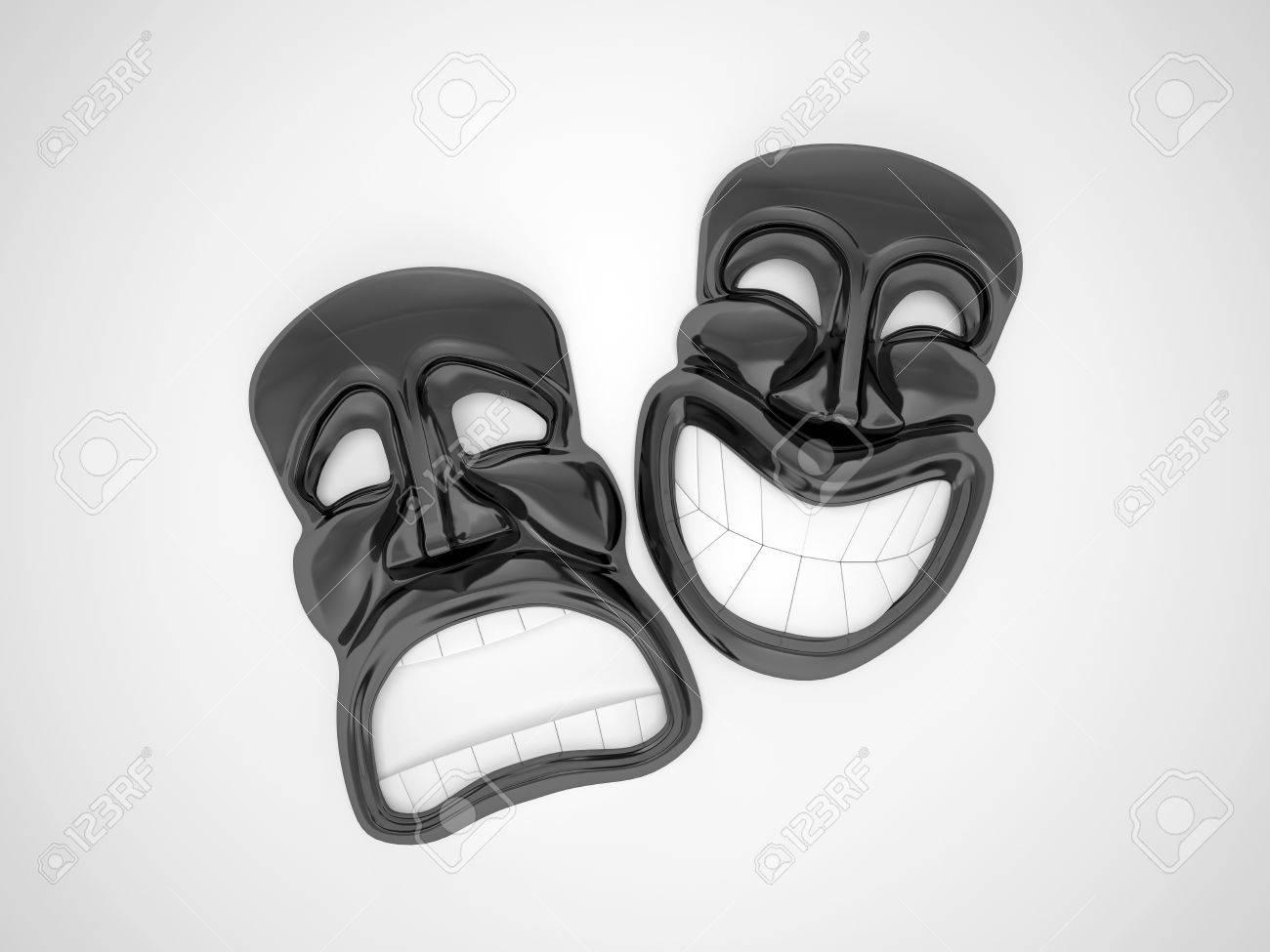 Noir Masque De Théâtre Avec Un Sourire Banque Dimages Et Photos