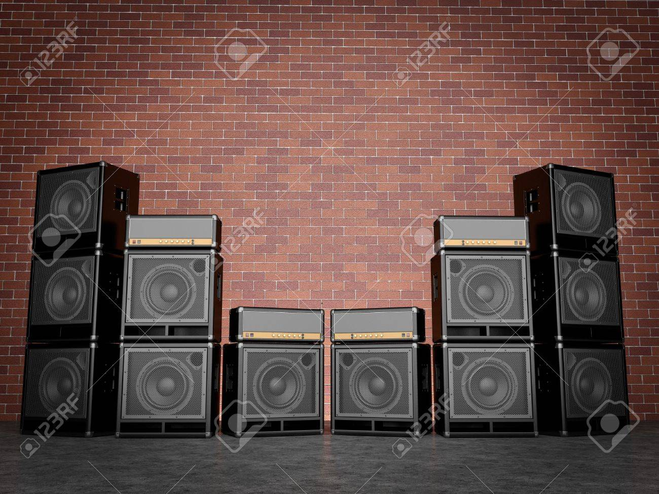 Guitar amps against a brick wall Stock Photo - 19583398