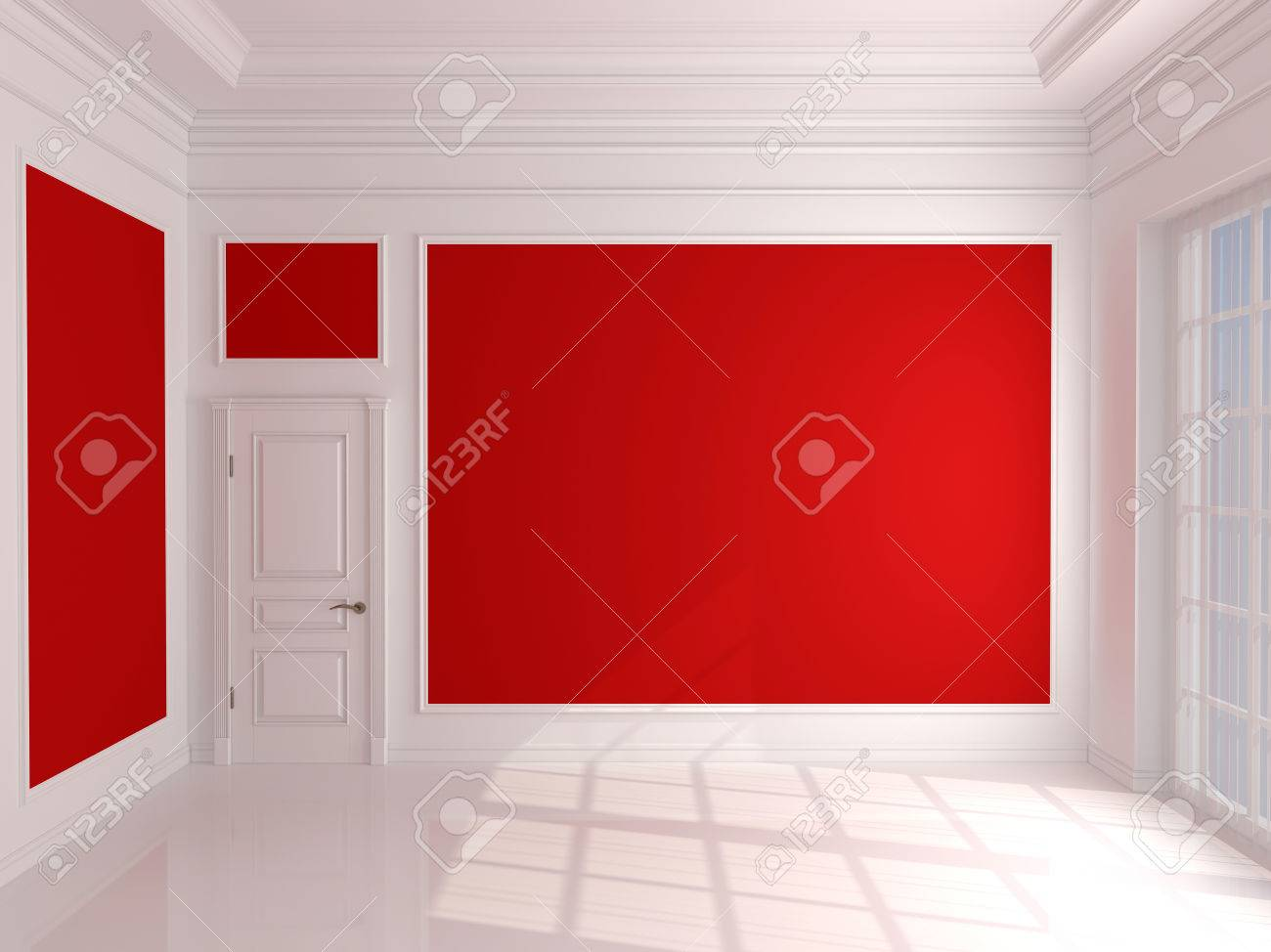 empty interior with red walls and white door stock photo, picture