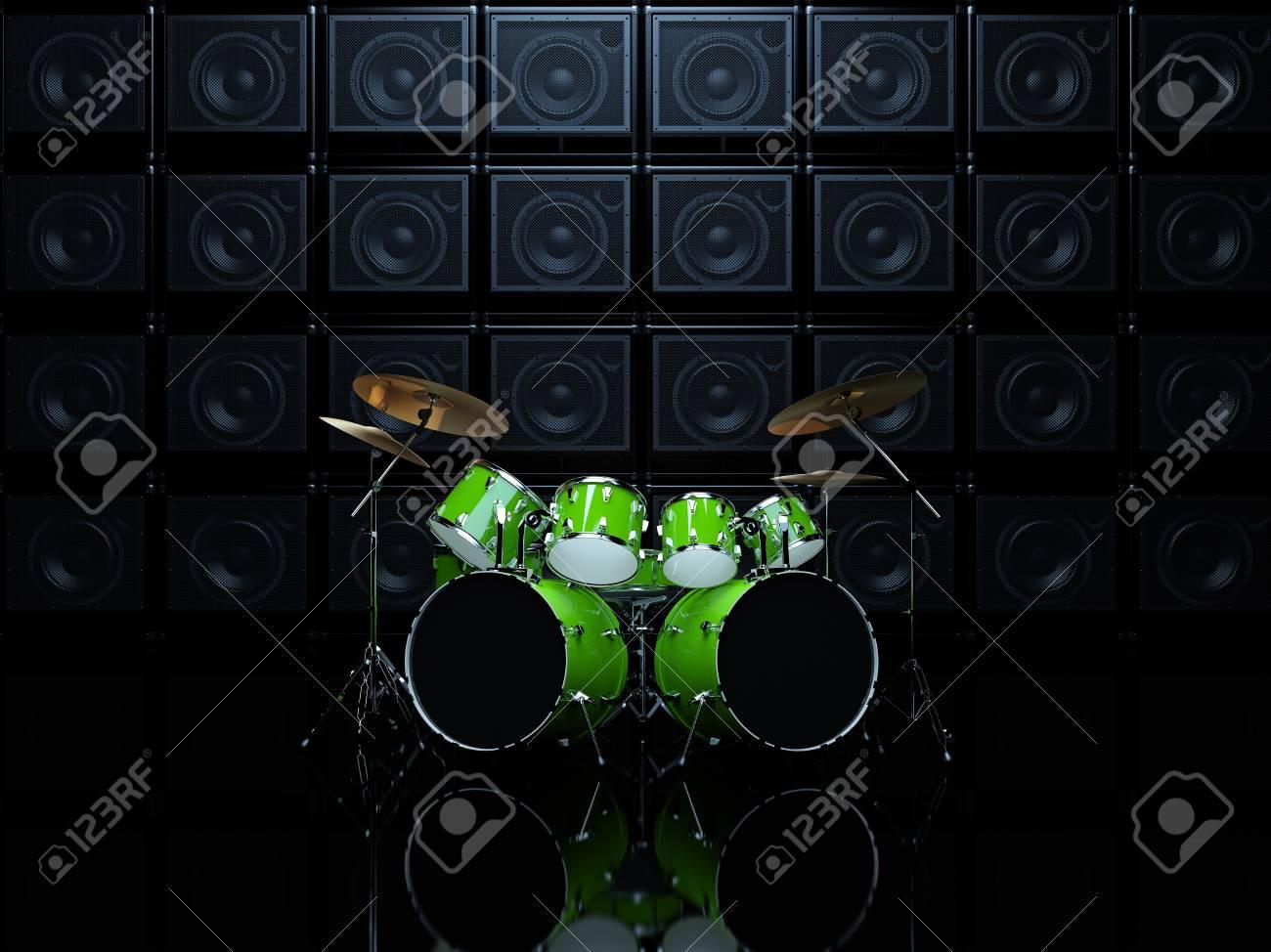 Coole Drum Set Vor Dem Hintergrund Der Grunen Wand Der Gitarre Amps