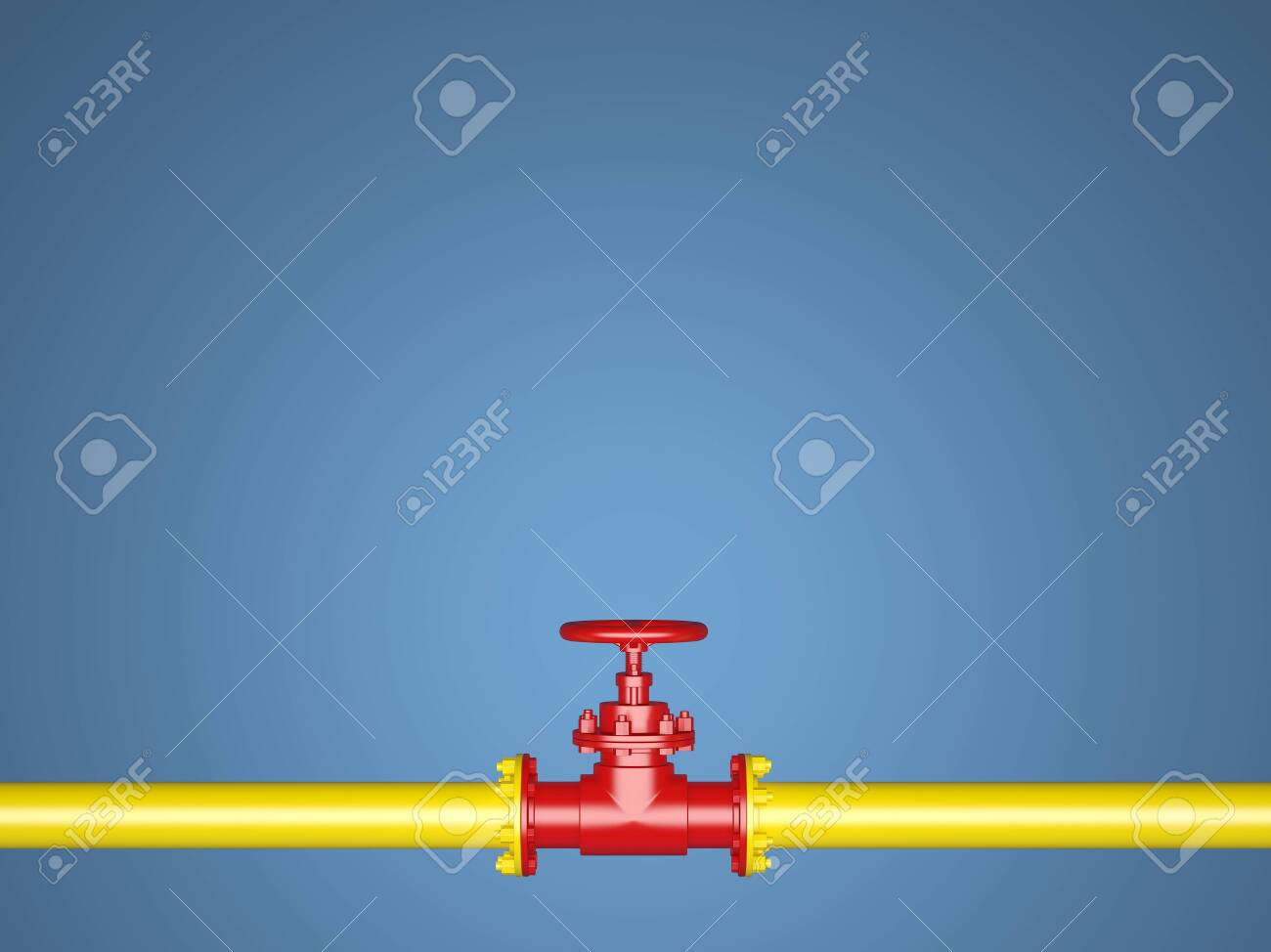 Yellow and red pipe on a blue background - 122112620