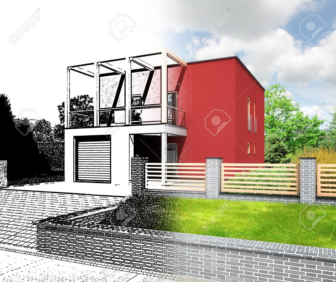Architectural Visualization Of A New Modern House Combination Sketch And Rendering Showing The Design