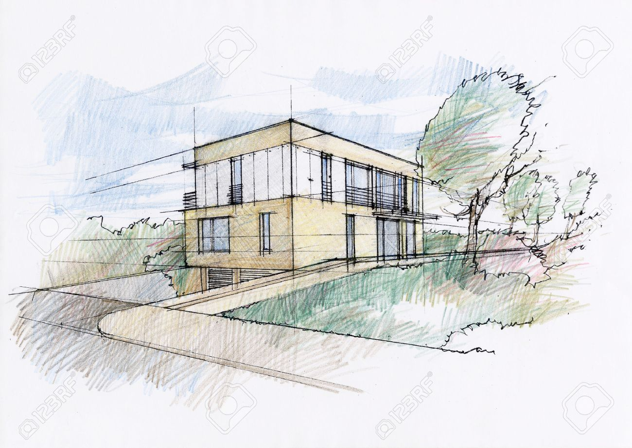 Modern House Sketch Stock Photo, Picture nd oyalty Free Image ... - ^