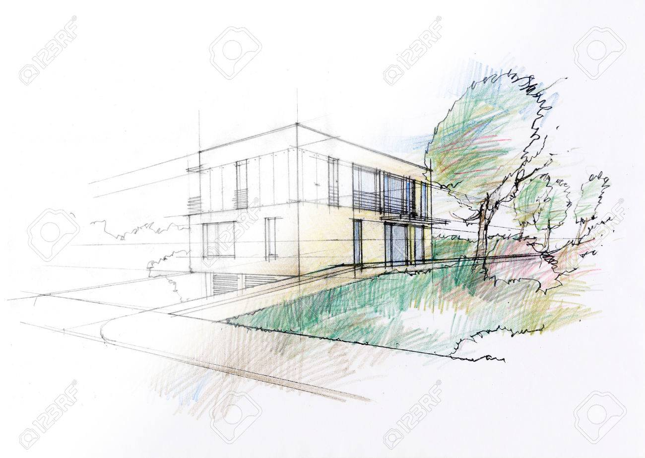 Modern House Sketch Stock Photo Picture And Royalty Free Image