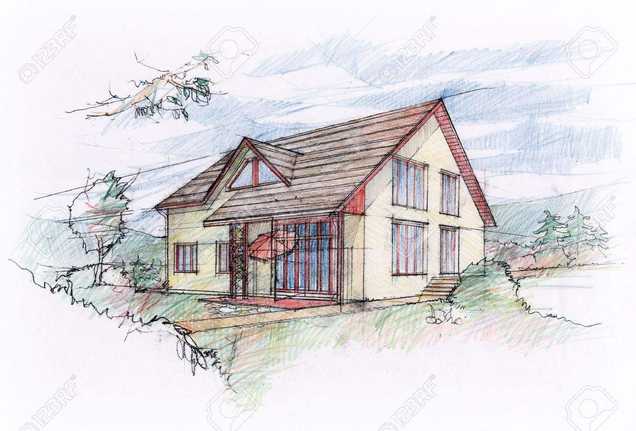 house sketch design stock photo 36577092 - House Sketch Design