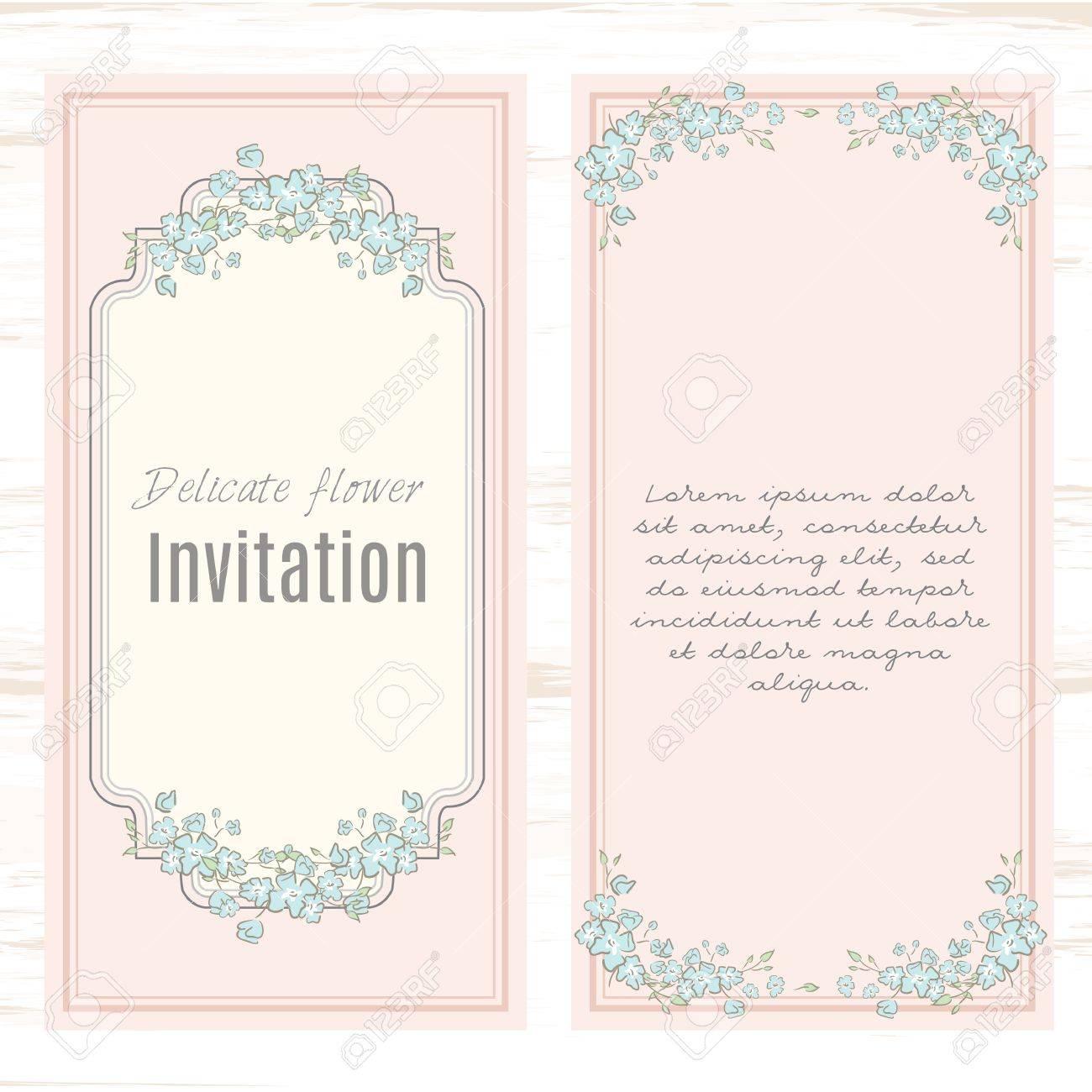 ... Einladung, Shabby Chic. Grußkarte Vorlage Blumenhintergrund. Design  Briefpapier Im Vektor Format Eingestellt. Hochzeit Karte Oder