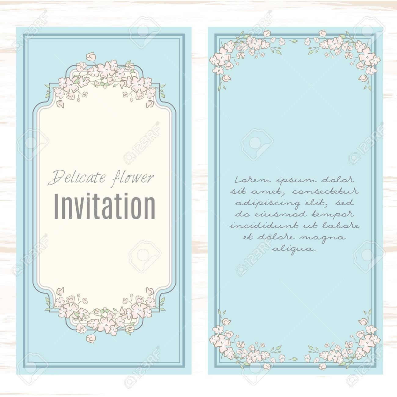 Greeting Card Template Floral Background Design Stationery Set