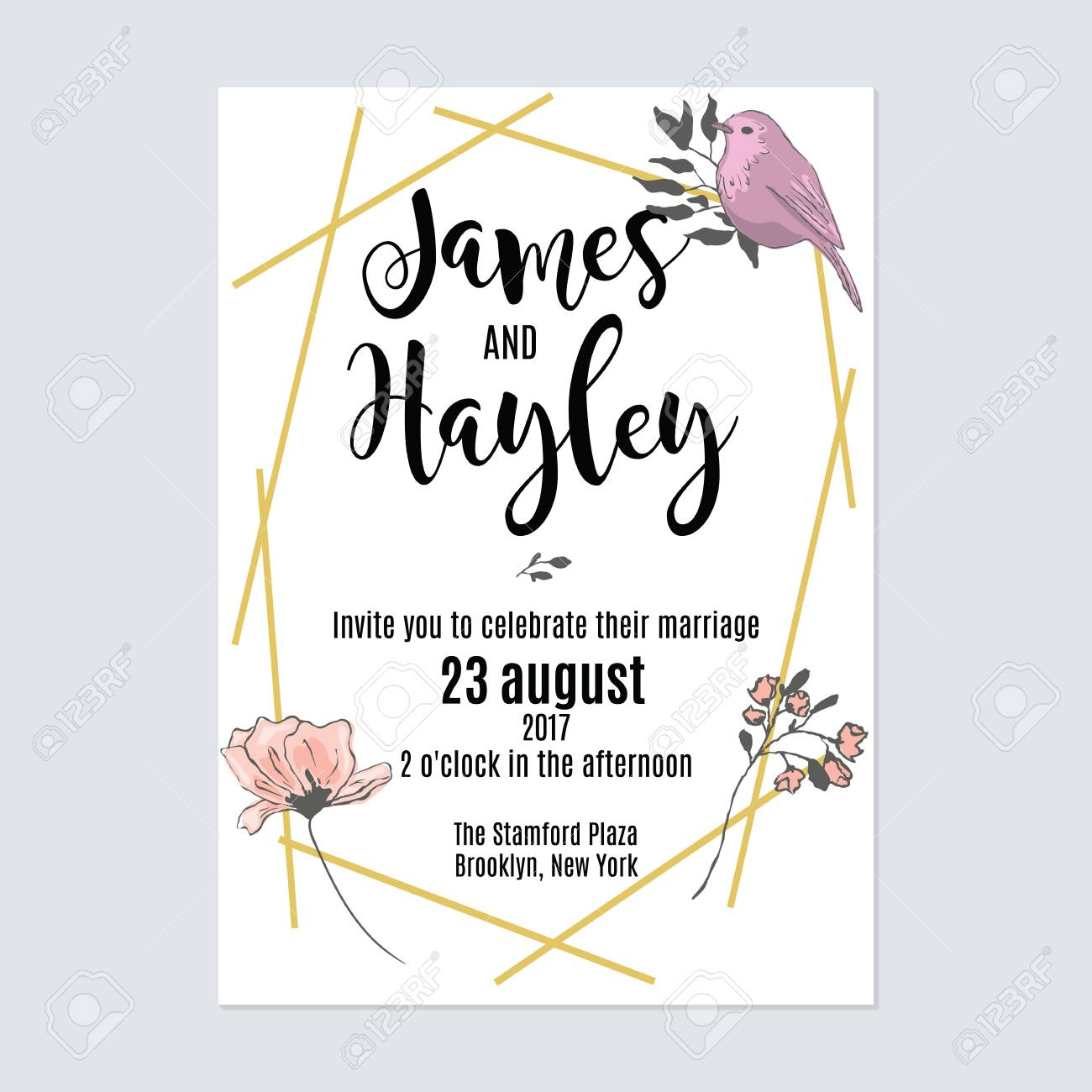 Gold Geometric Lines Floral Wedding Invitation Card Template