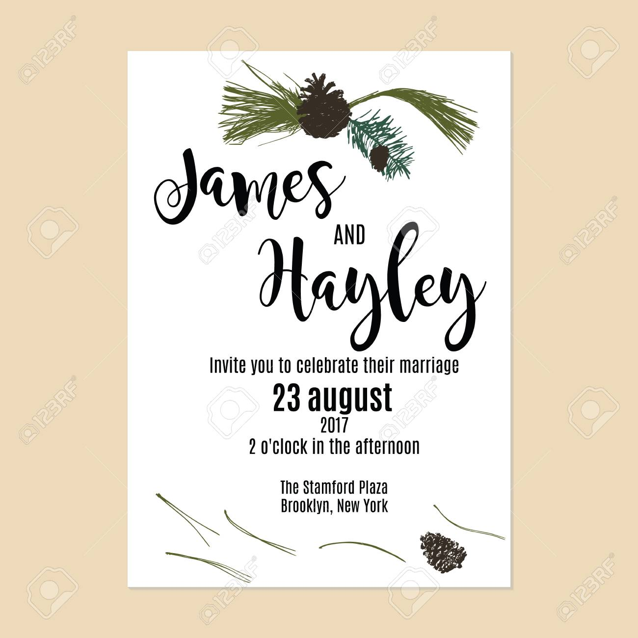 Minimalistic Botany Wedding Invitation Card Template Vector With ...
