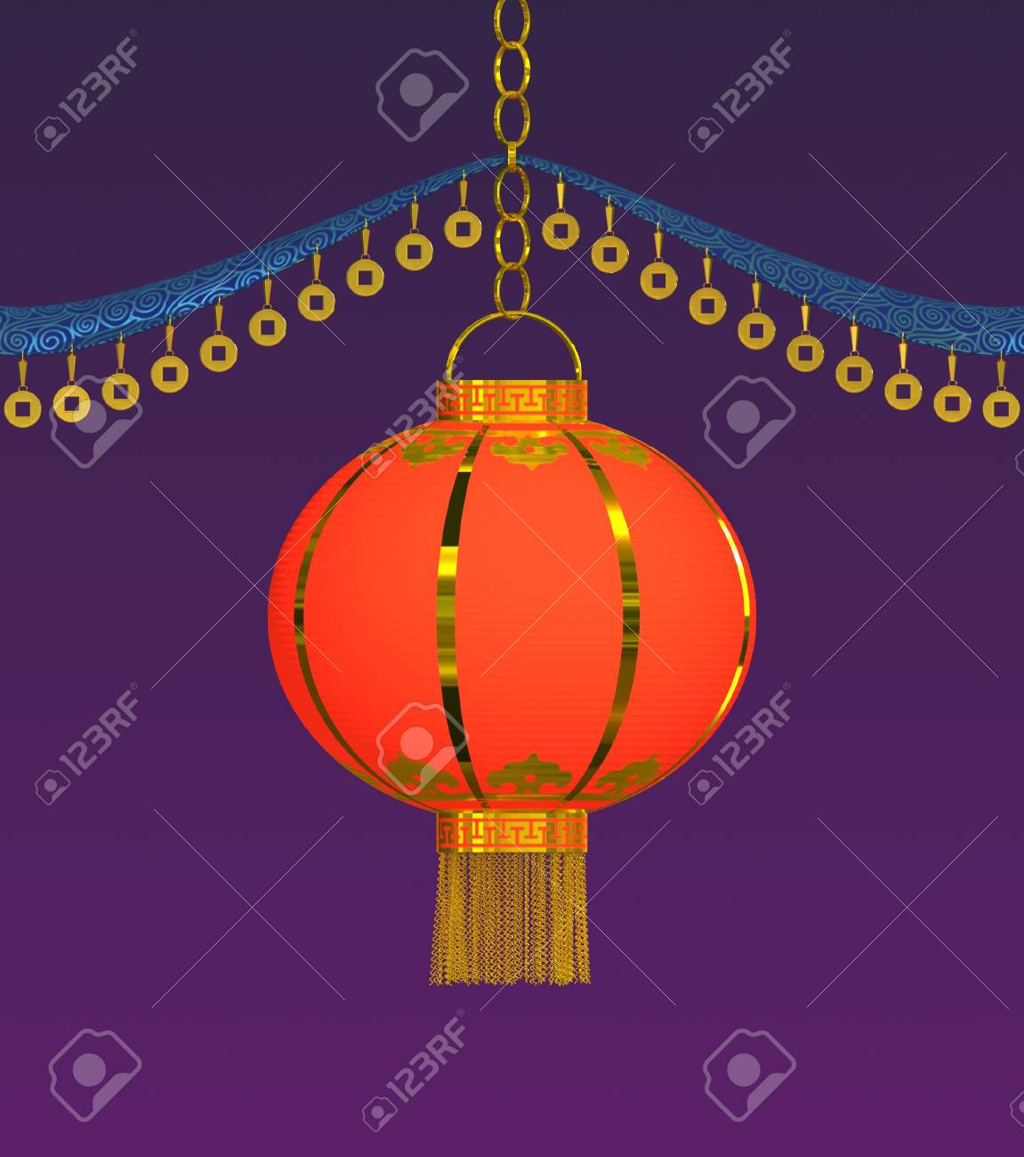 Chinese lantern. Traditional Chinese decor. 3d rendering. Stock Photo - 3454031