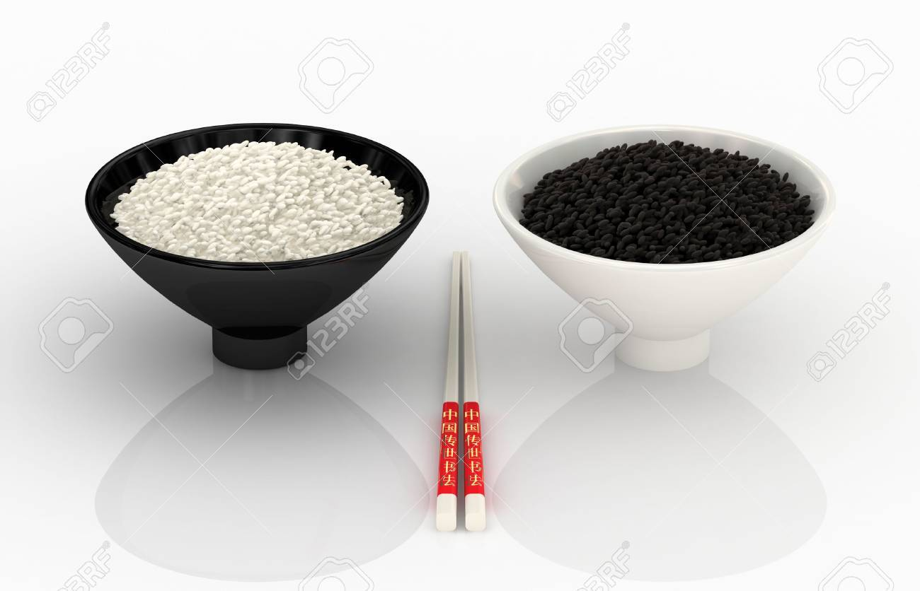 White and black rice. Chinese cuisine. 3d rendering. Stock Photo - 3454023