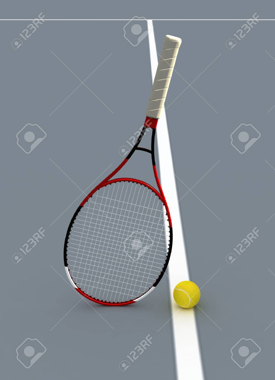 Tennis Racket and Ball on Court. Stock Photo - 3461632