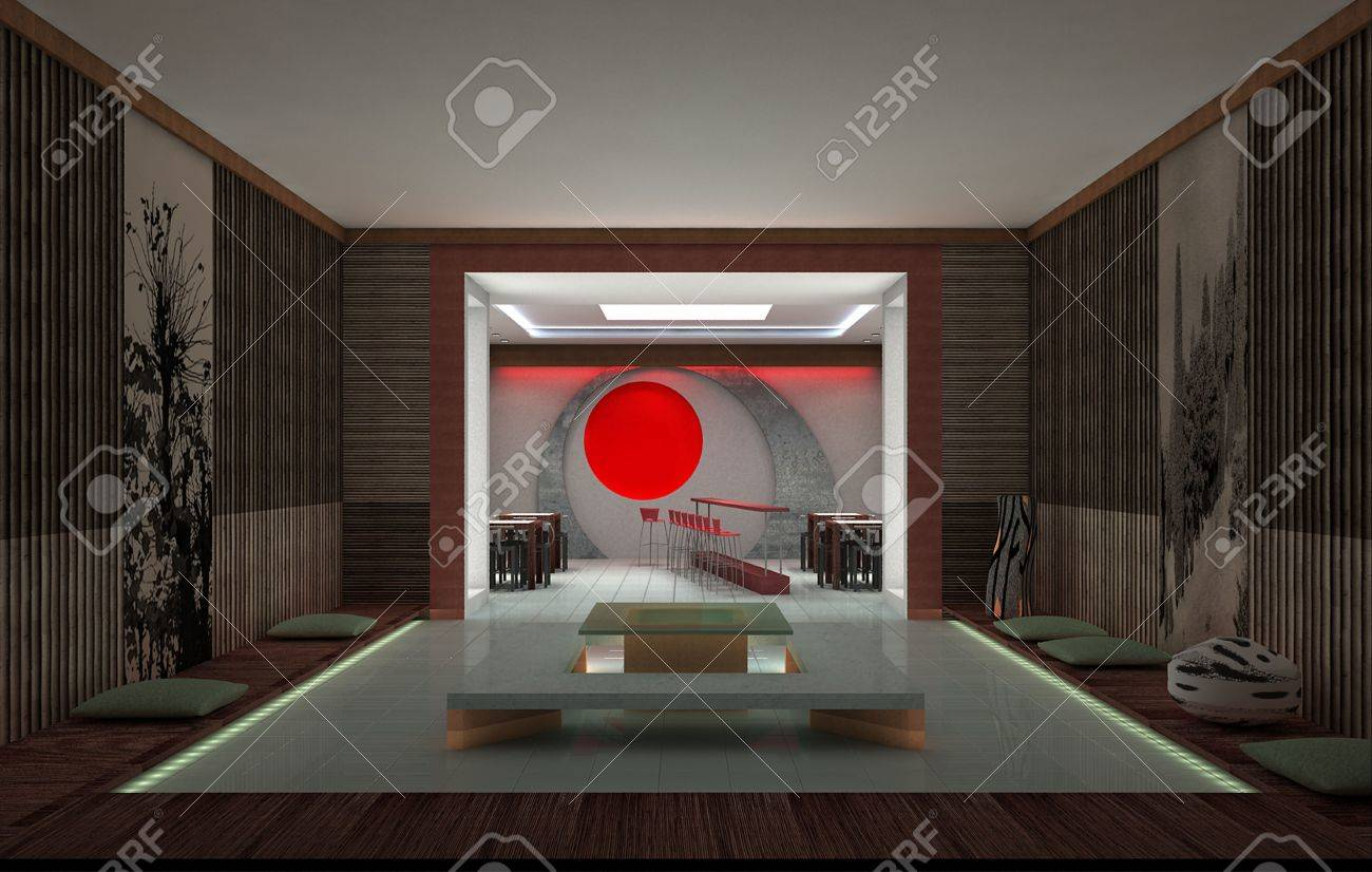 Sushi Bar Design sushi bar. interior design. 3d rendering. stock photo, picture and