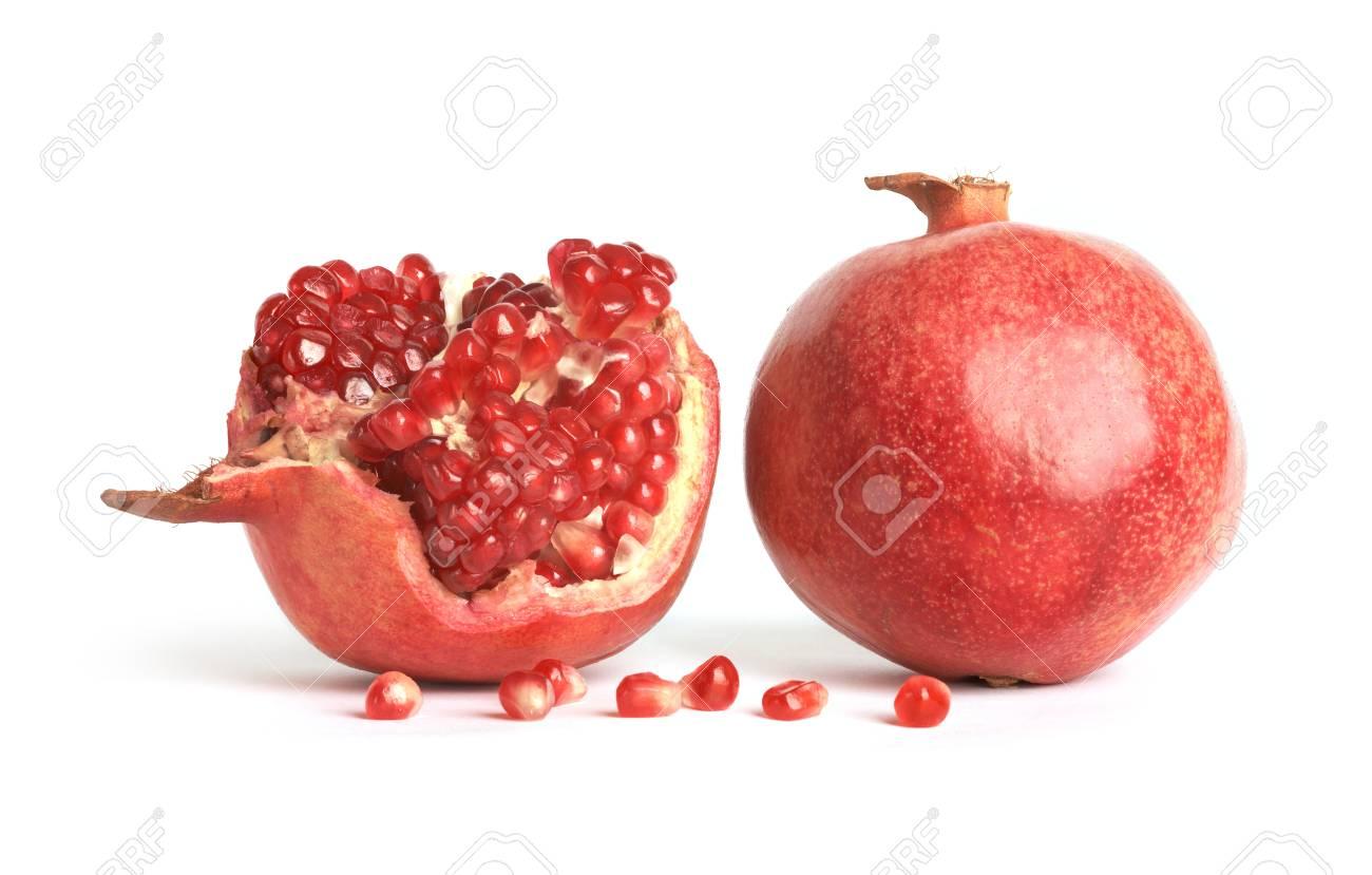 Ripe pomegranates on white background  Punica granatum Stock Photo - 15884587