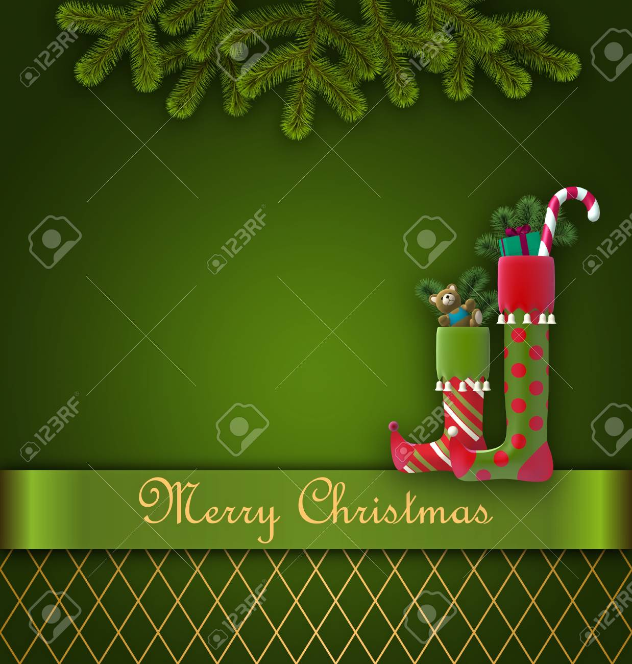 Christmas greeting card decorated with christmas stockings Stock Photo - 16838796