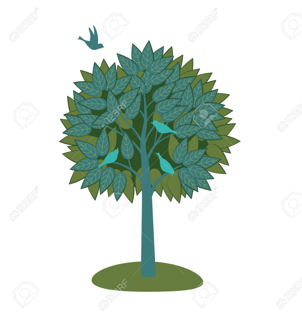 Stylized tree with lush foliage and birds. Stock Vector - 18256646