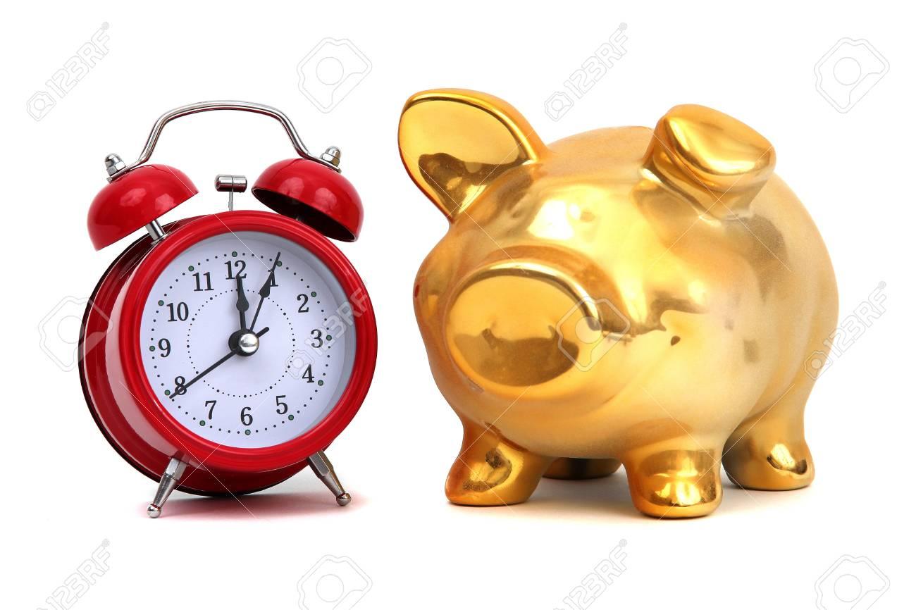 alarm bell and golden piggy bank Stock Photo - 12291433