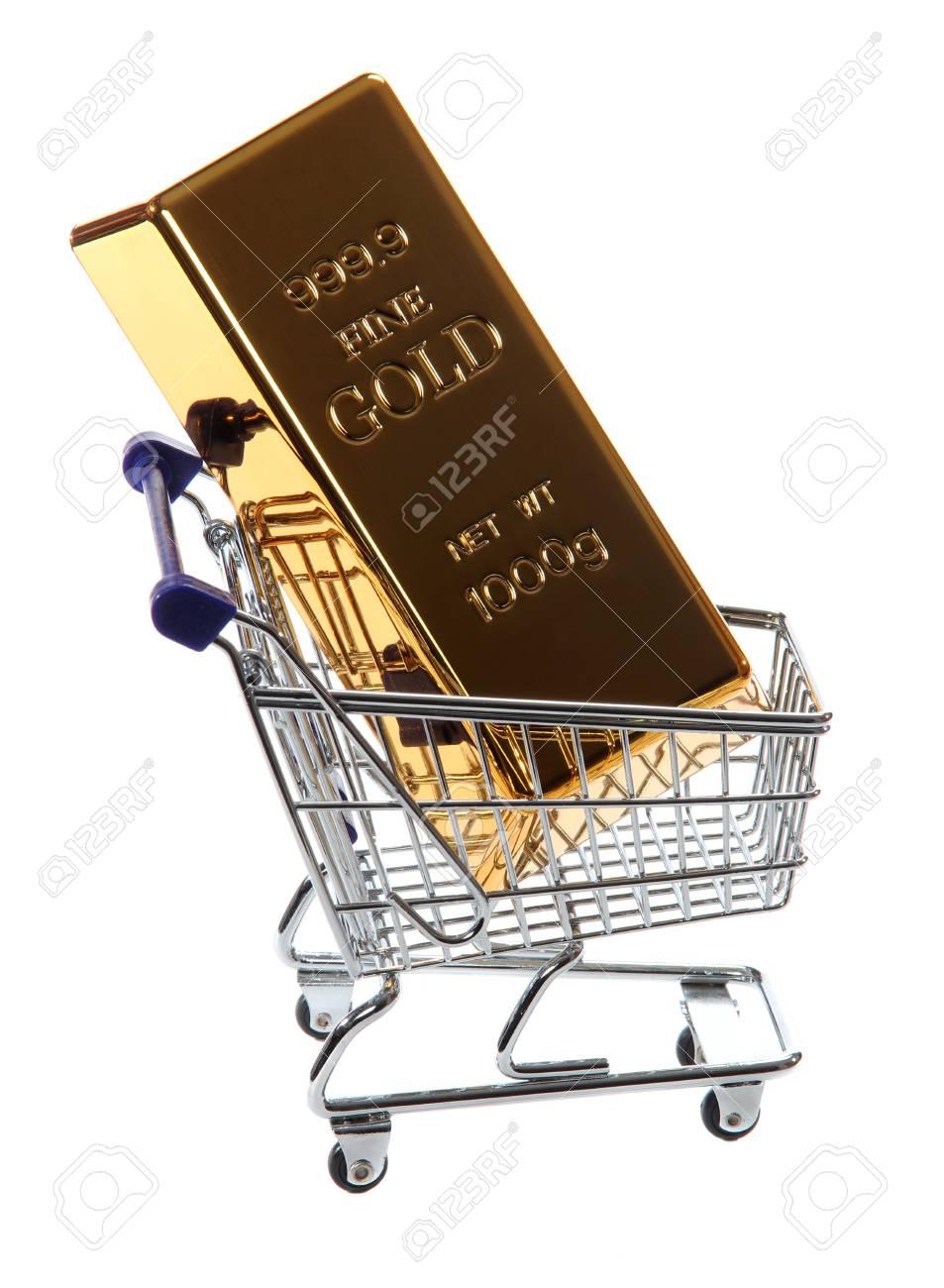 gold bullion in shopping cart Stock Photo - 12691439