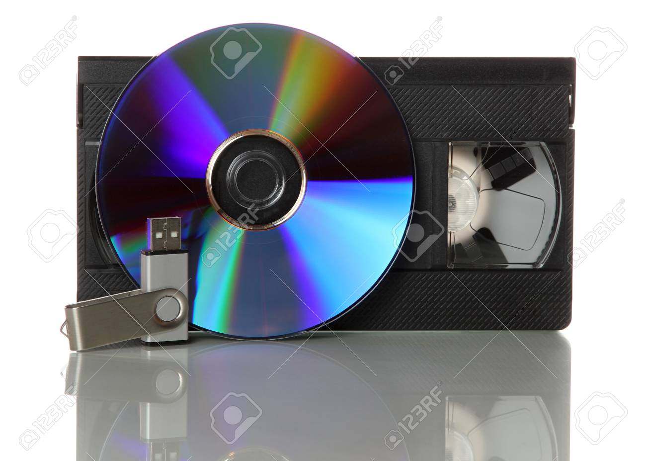 videotape with cd and usb-stick Stock Photo - 14017261