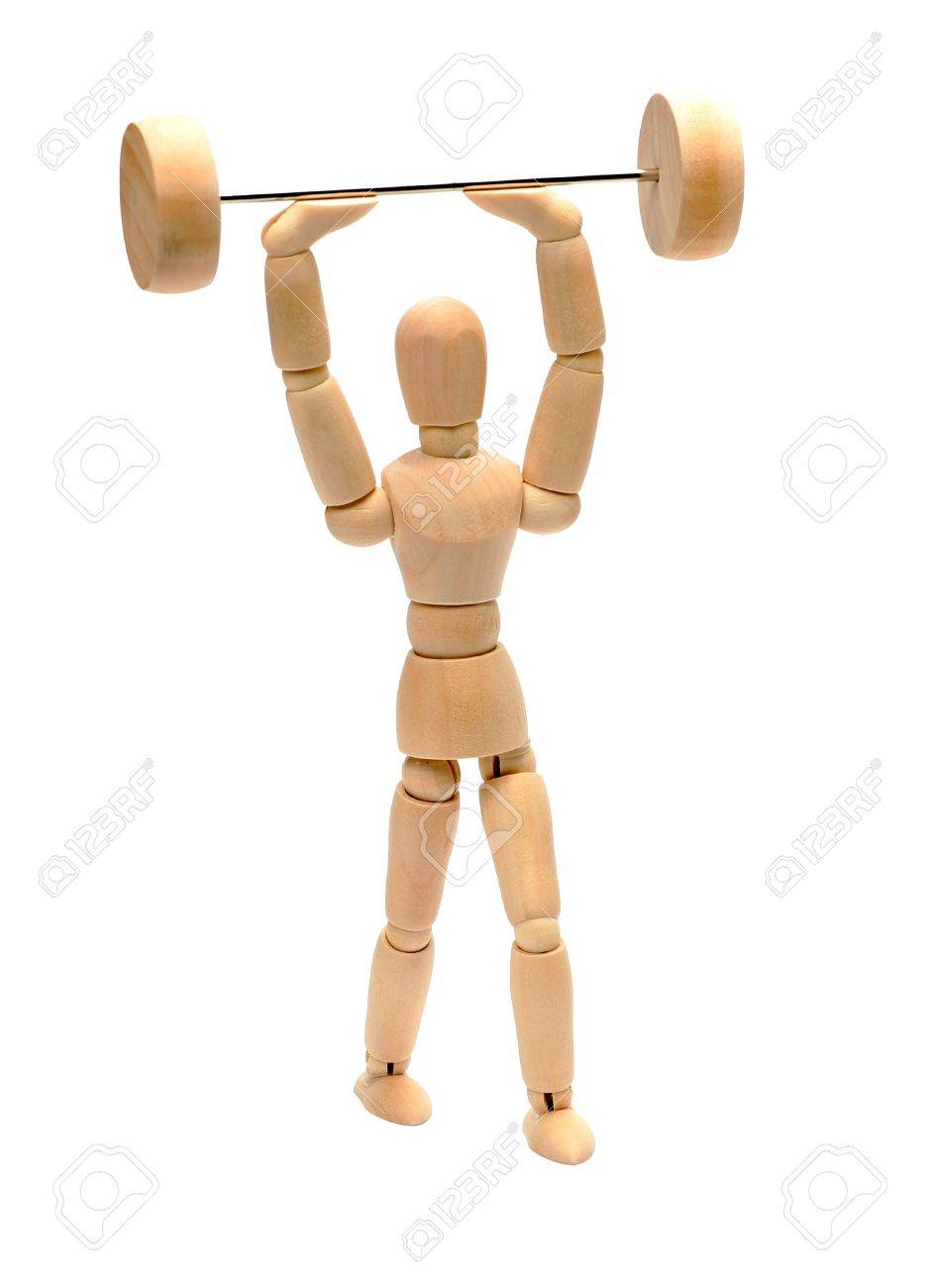 wooden doll doing weight lifting Stock Photo - 15482745