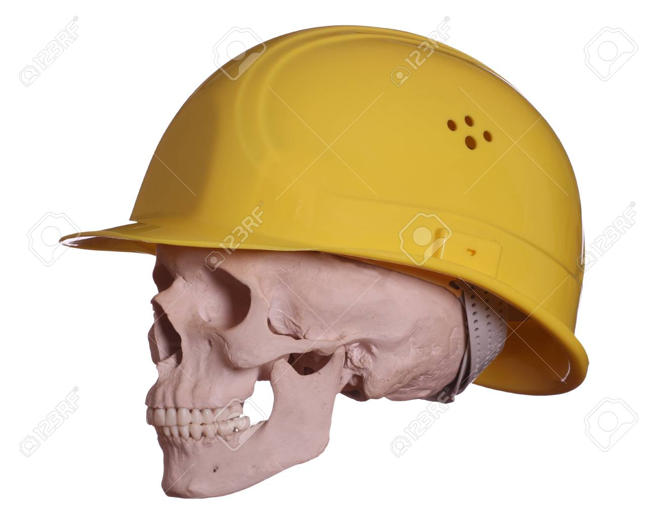 skull with yellow helmet Stock Photo - 17917619