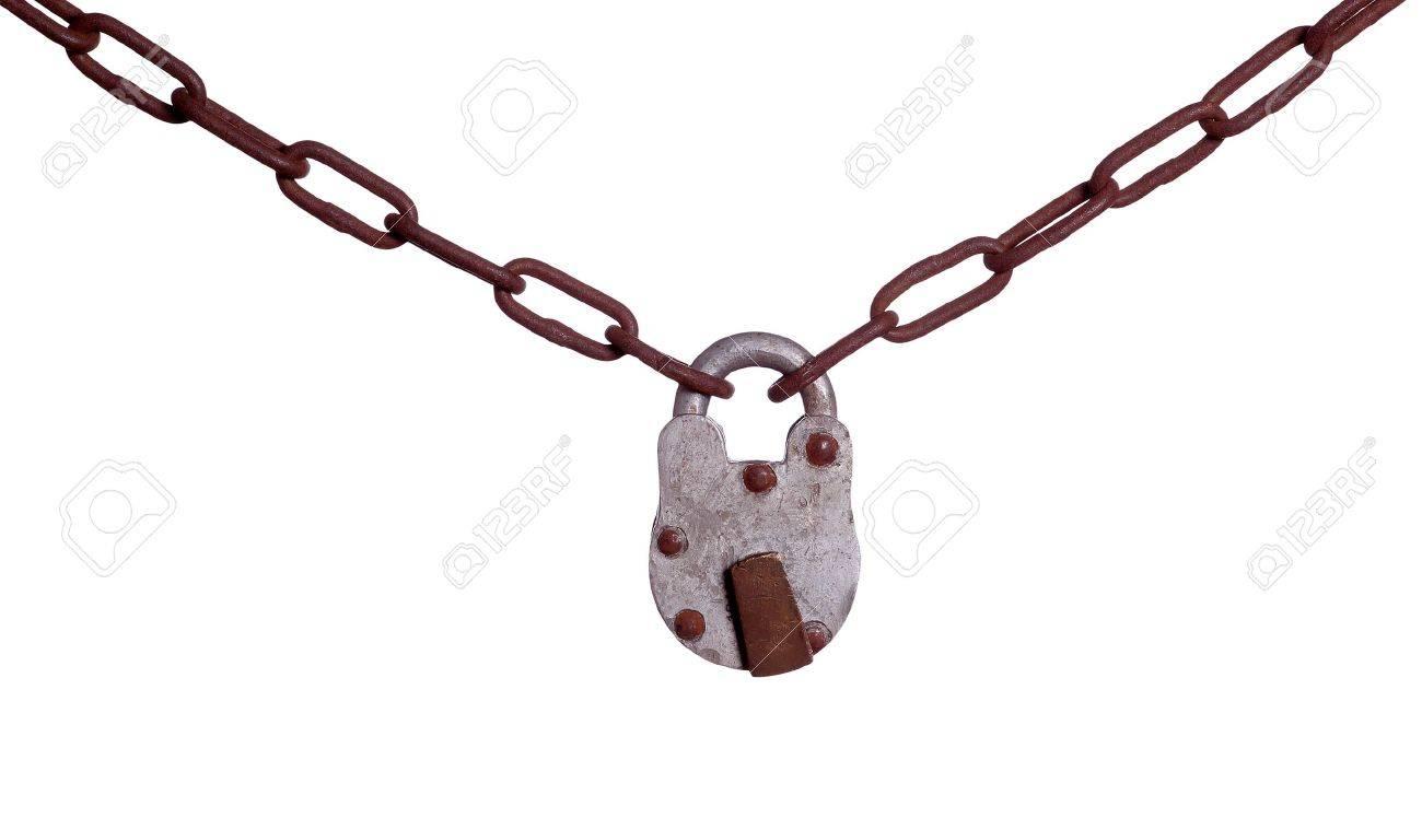 old padlock on rusty c...