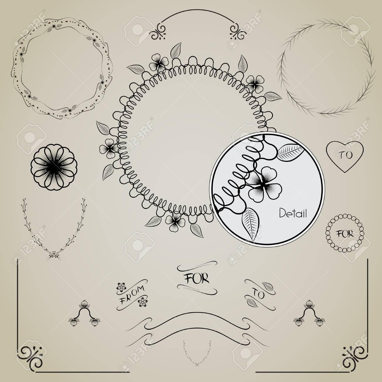 Set Of Hand Drawn Frames, Laurels. Decorating For Cards And Wedding ...
