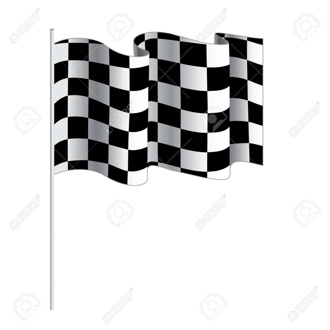 Checkered Flag For Car Racing Vector Illustration Isolated On White Background Finish